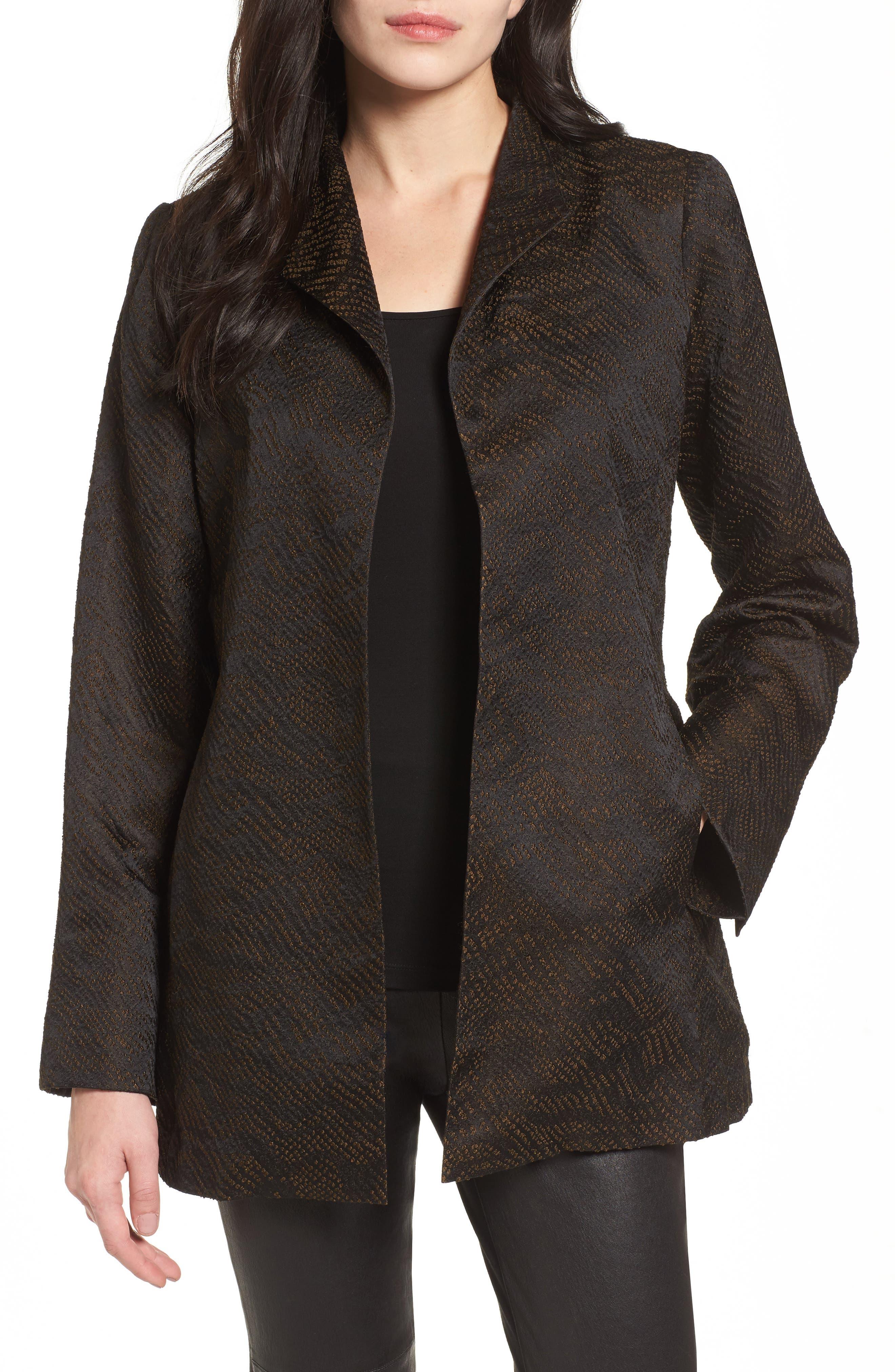 Silk Blend Jacquard Jacket,                             Main thumbnail 1, color,                             Black