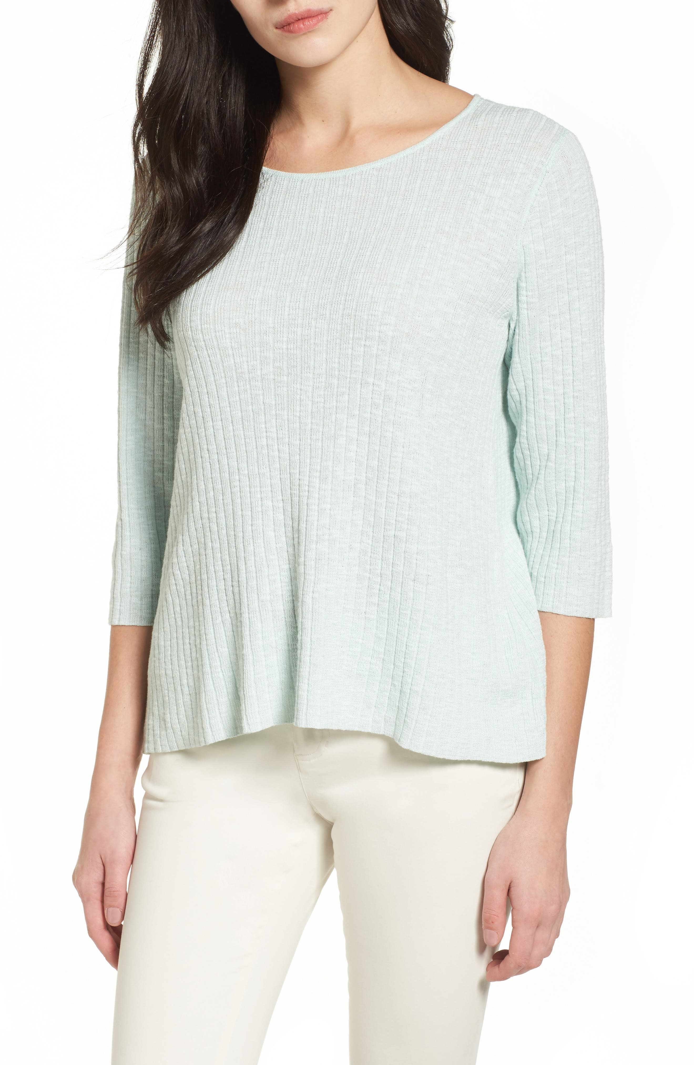 Ribbed Organic Linen & Cotton Sweater,                         Main,                         color, Aurora