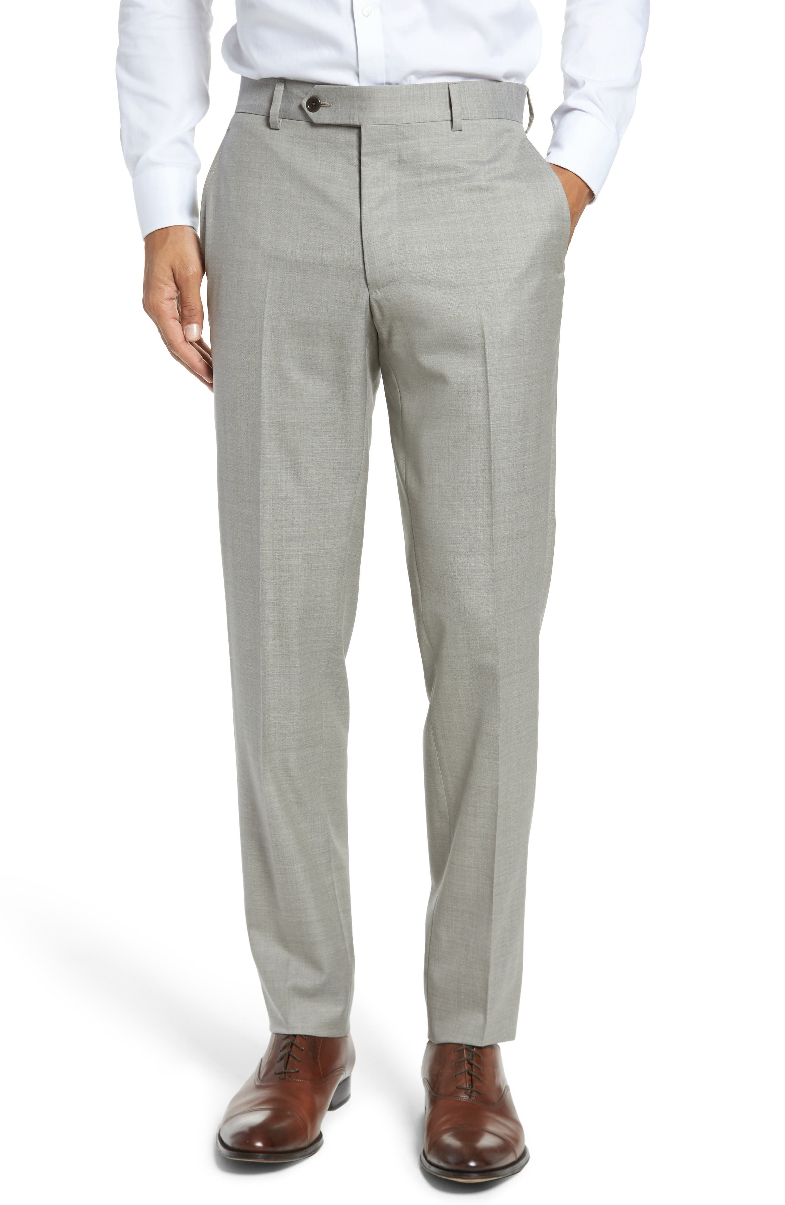 Peter Millar Multi Season Super 150s Wool Flat Front Trousers,                             Main thumbnail 1, color,                             Sabbia