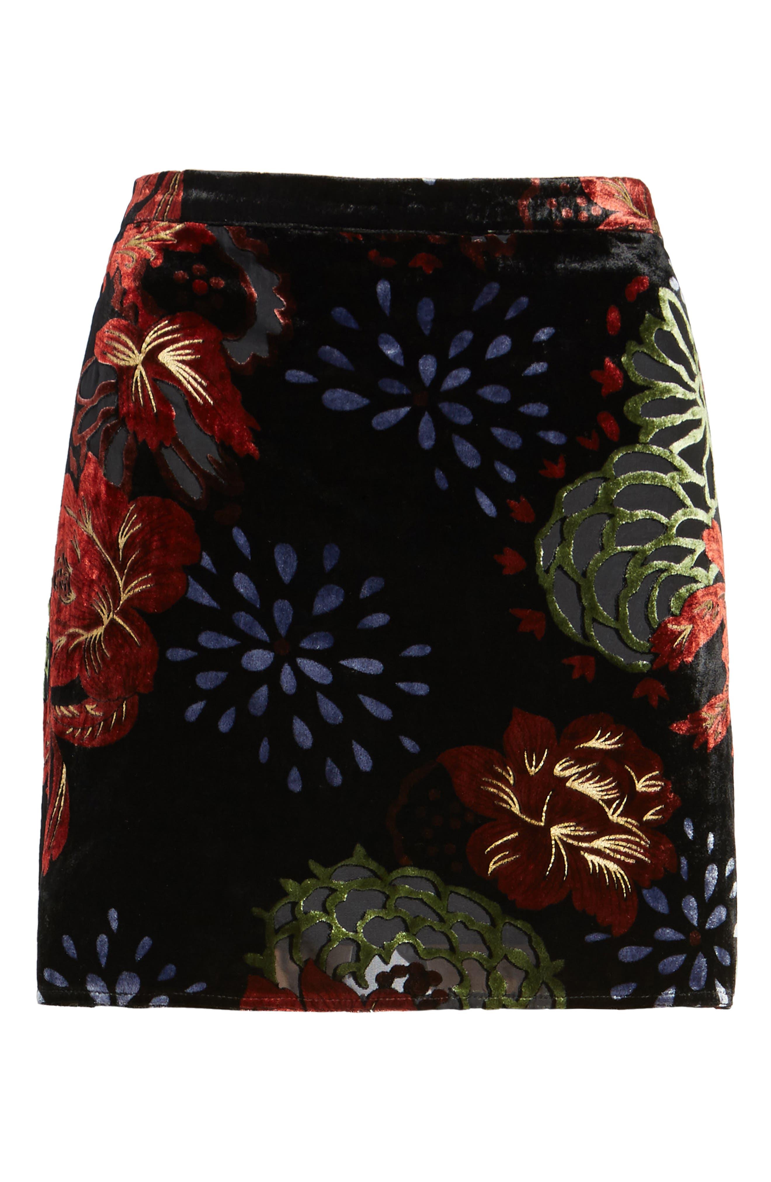Romantic Burnout Miniskirt,                             Alternate thumbnail 6, color,                             Black Brick