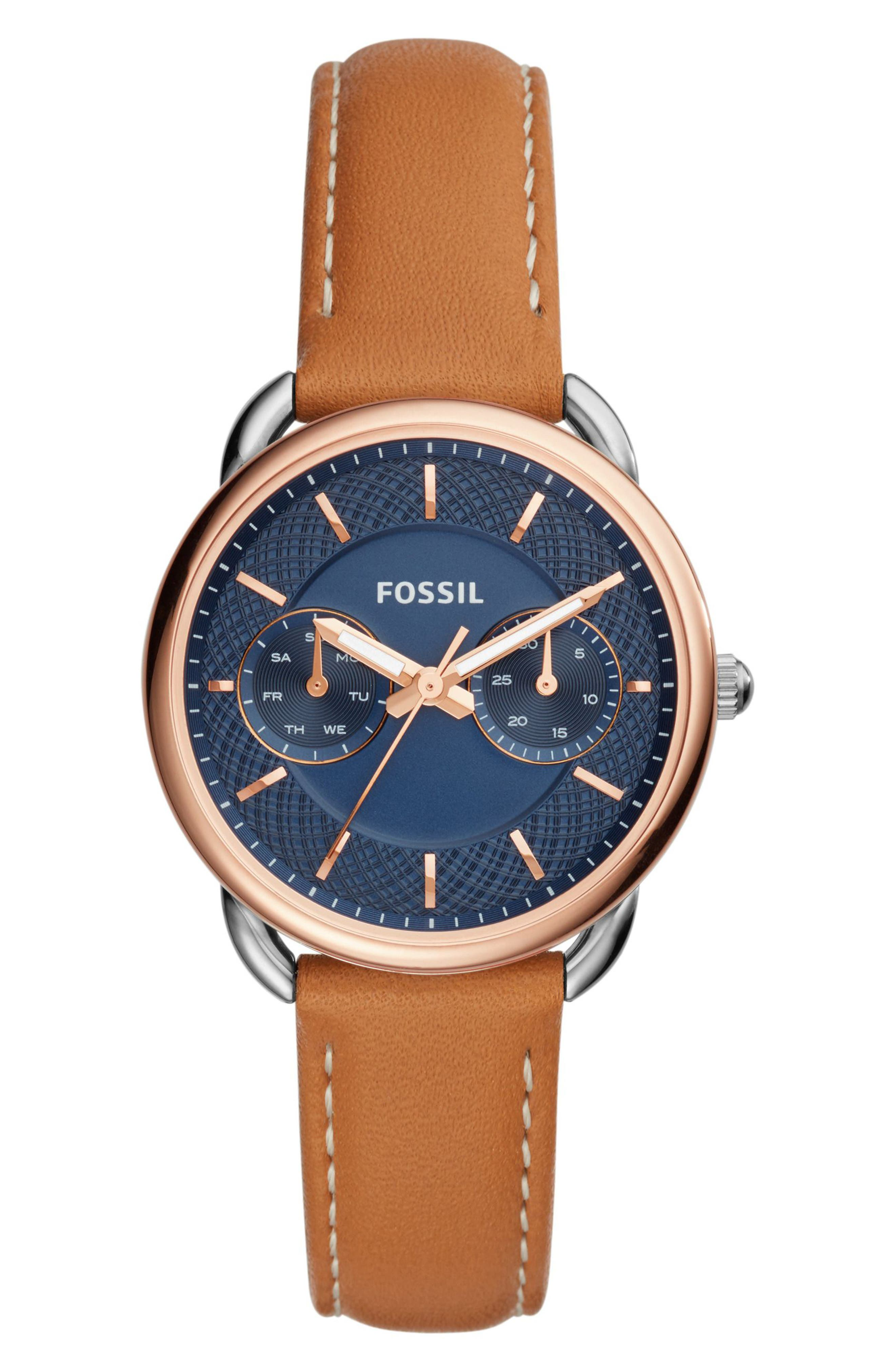 Tailor Multifunction Leather Strap Watch, 35mm,                         Main,                         color, Brown/ Blue/ Silver