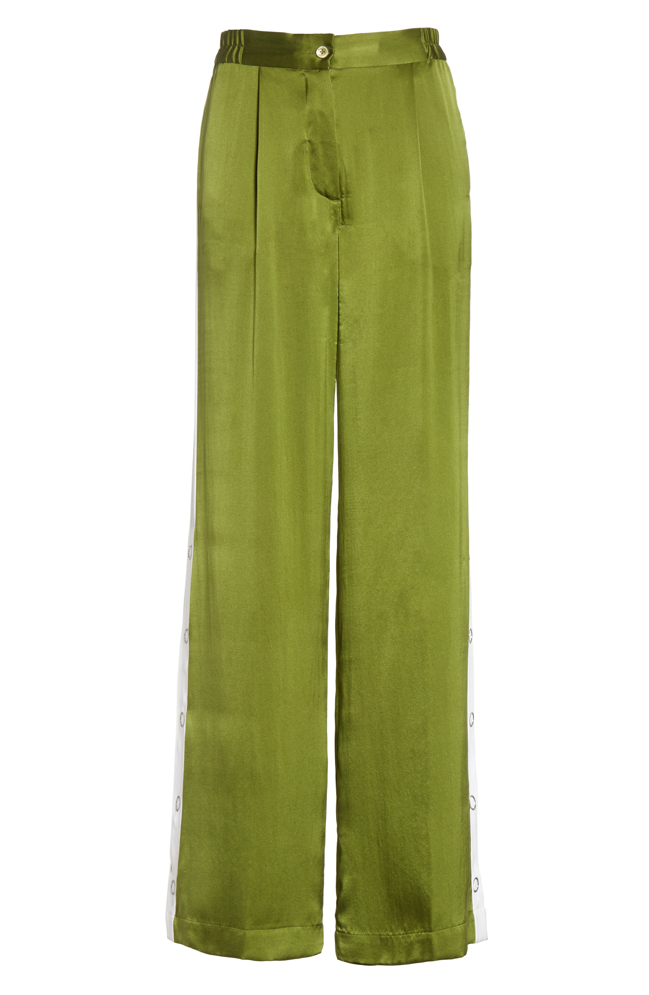 Arwen Wide Leg Silk Pants,                             Alternate thumbnail 6, color,                             Combat Green