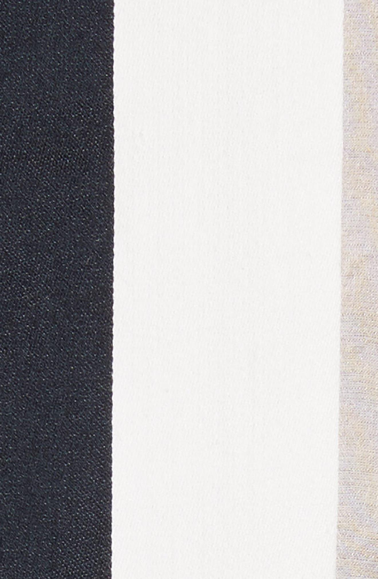 Cotton & Silk Stripe Jacquard Blouse,                             Alternate thumbnail 5, color,                             Black/ White