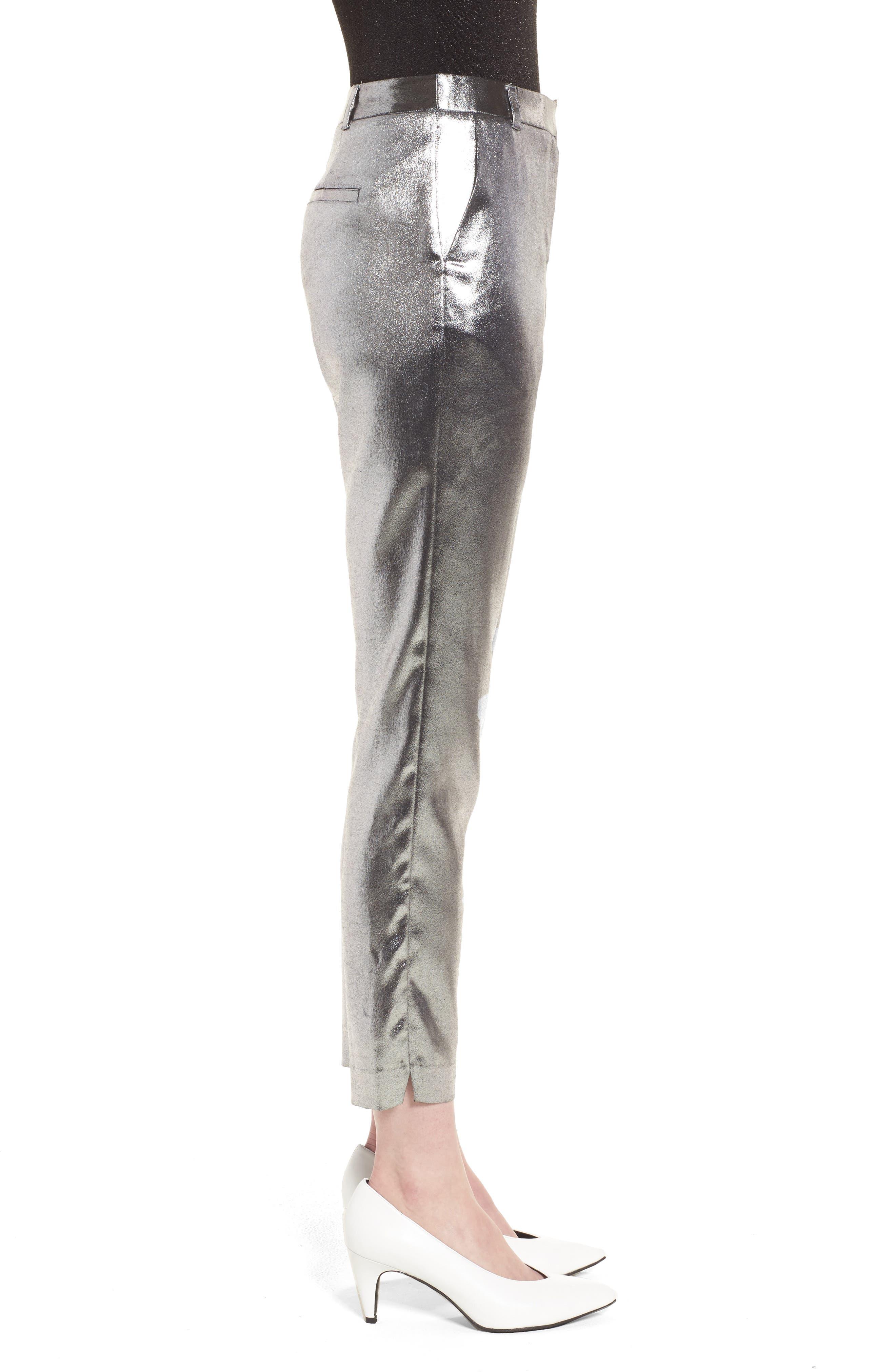 Metallic Suit Trousers,                             Alternate thumbnail 4, color,                             Silver