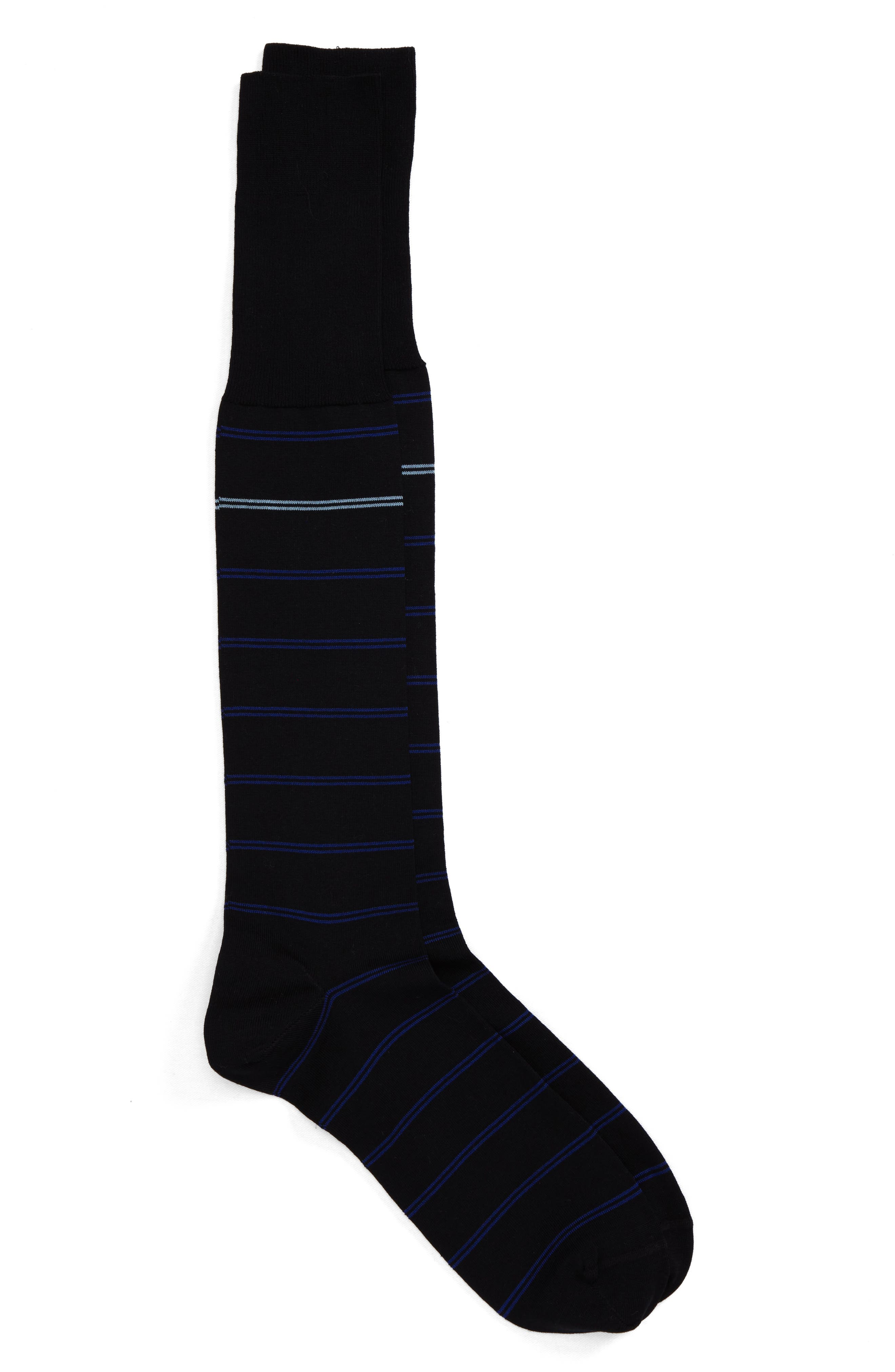 Parallel Lines Over the Calf Socks,                         Main,                         color, Black/ Blue