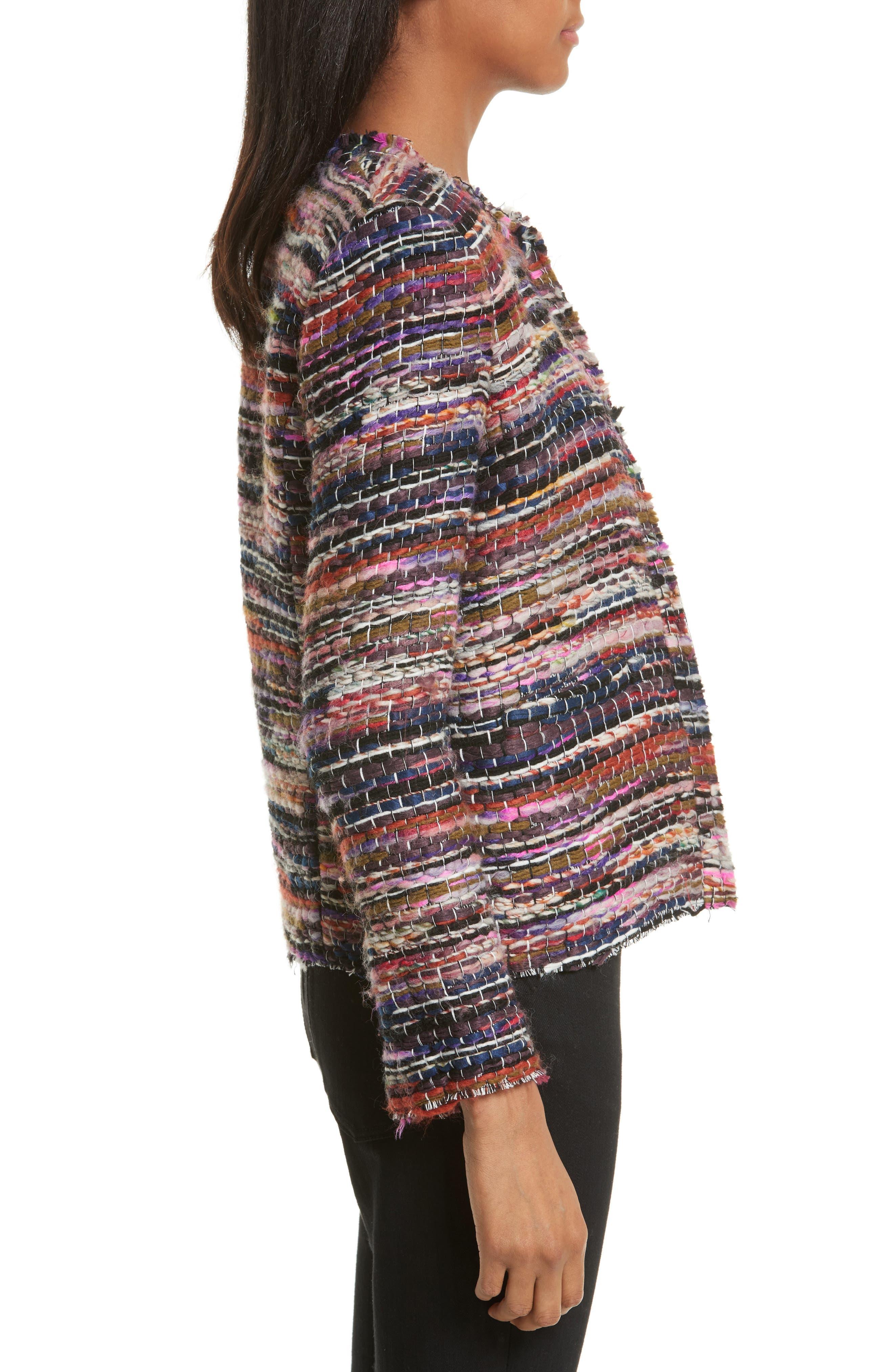 Namanta Tweed Jacket,                             Alternate thumbnail 4, color,                             Mulberry