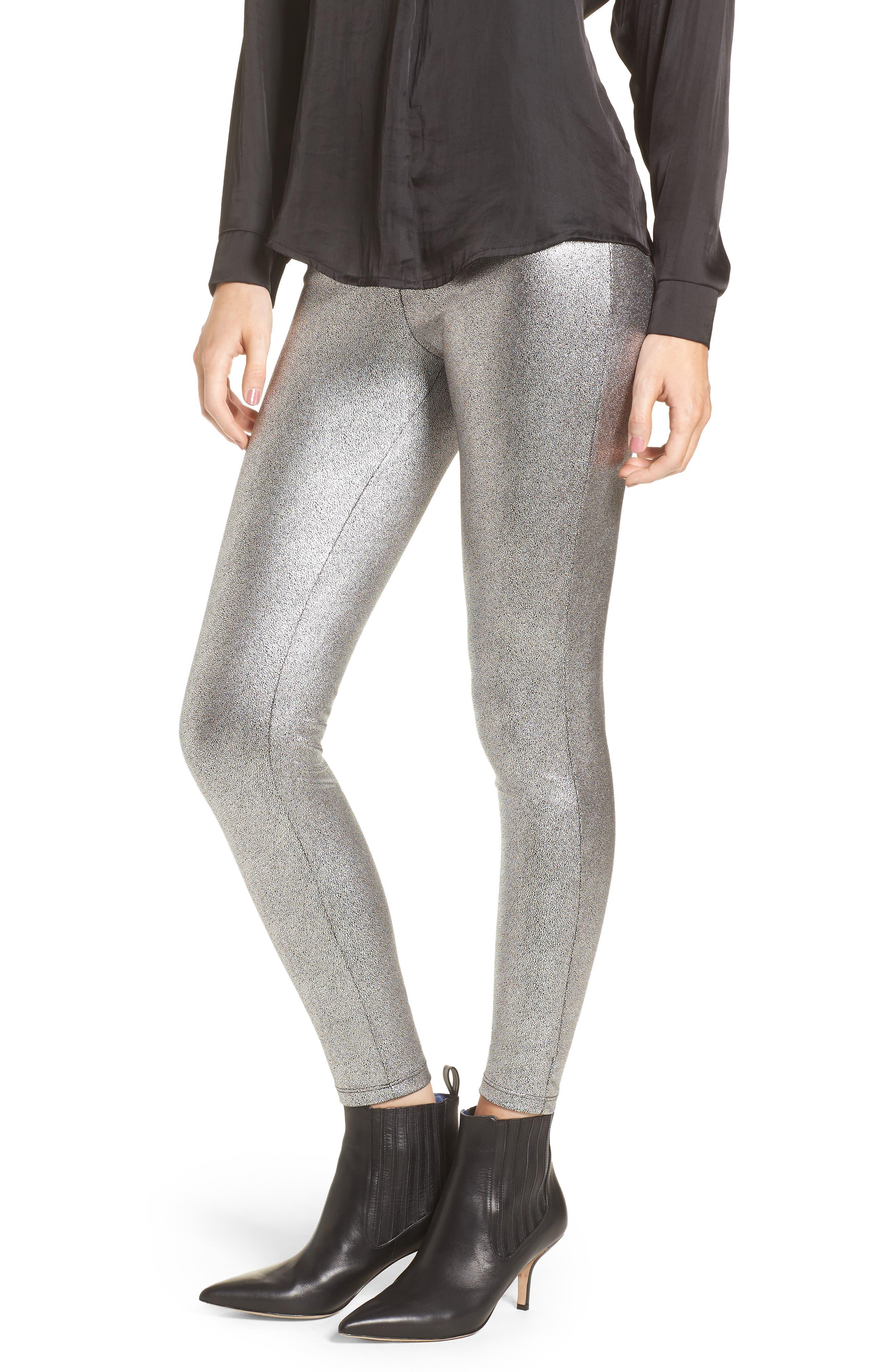 Metallic Leggings,                         Main,                         color, Silver