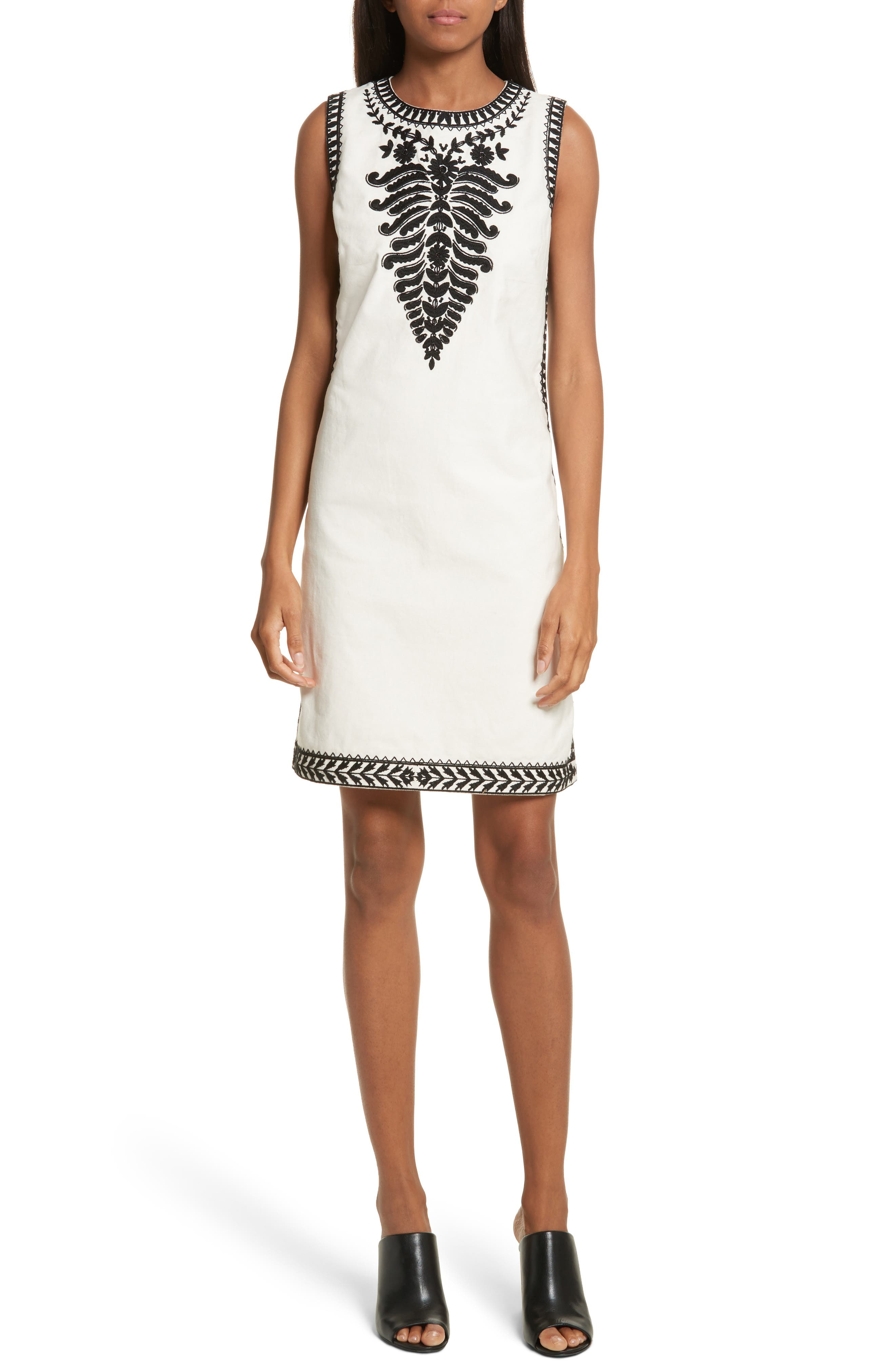 Camille Embellished Shift Dress,                             Main thumbnail 1, color,                             New Ivory