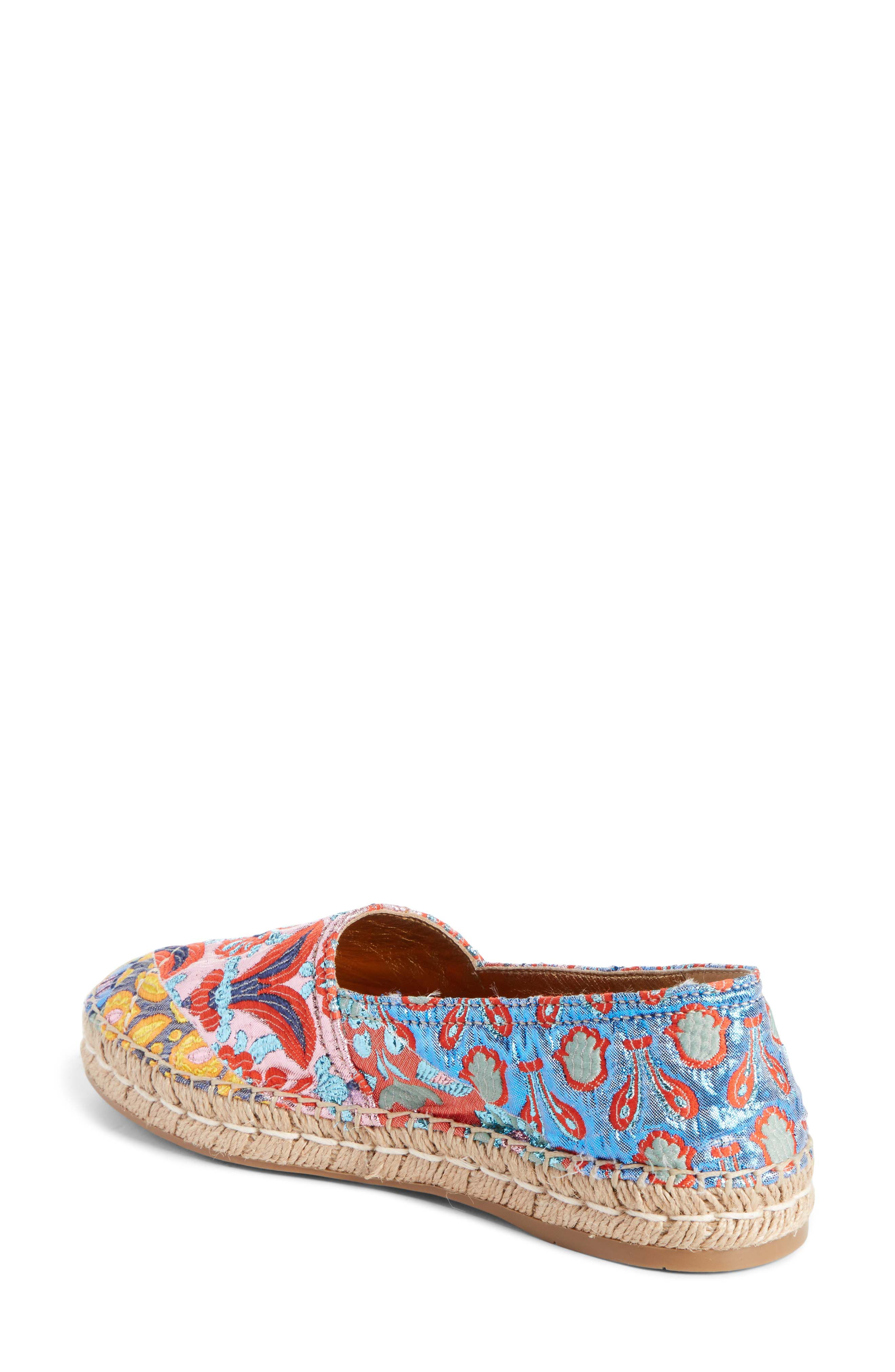 Floral Embroidered Espadrille Flat,                             Alternate thumbnail 2, color,                             Pink Multi