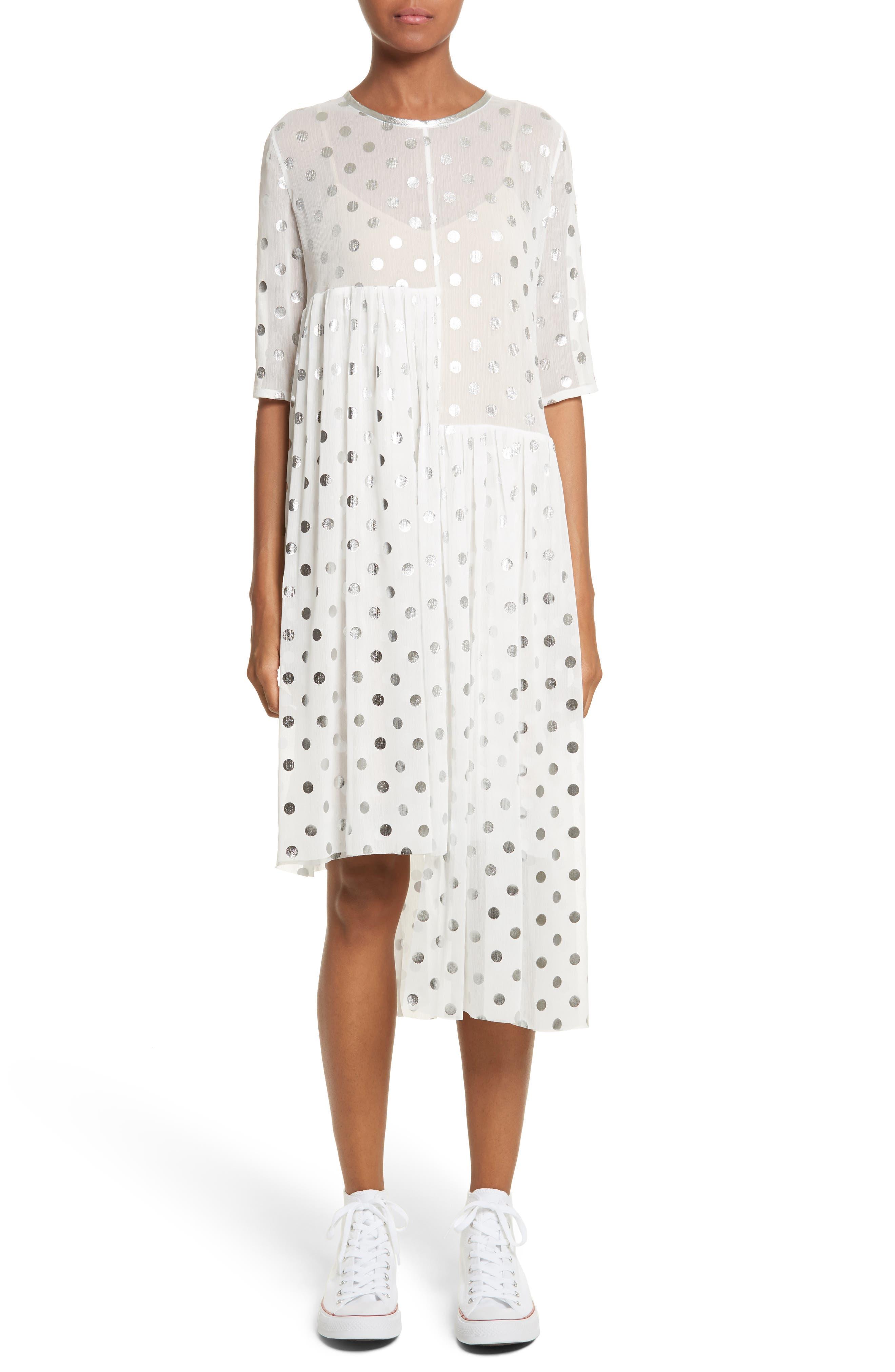 Asymmetric Gathered Short Sleeve Dress,                         Main,                         color, Polka Dot Silver