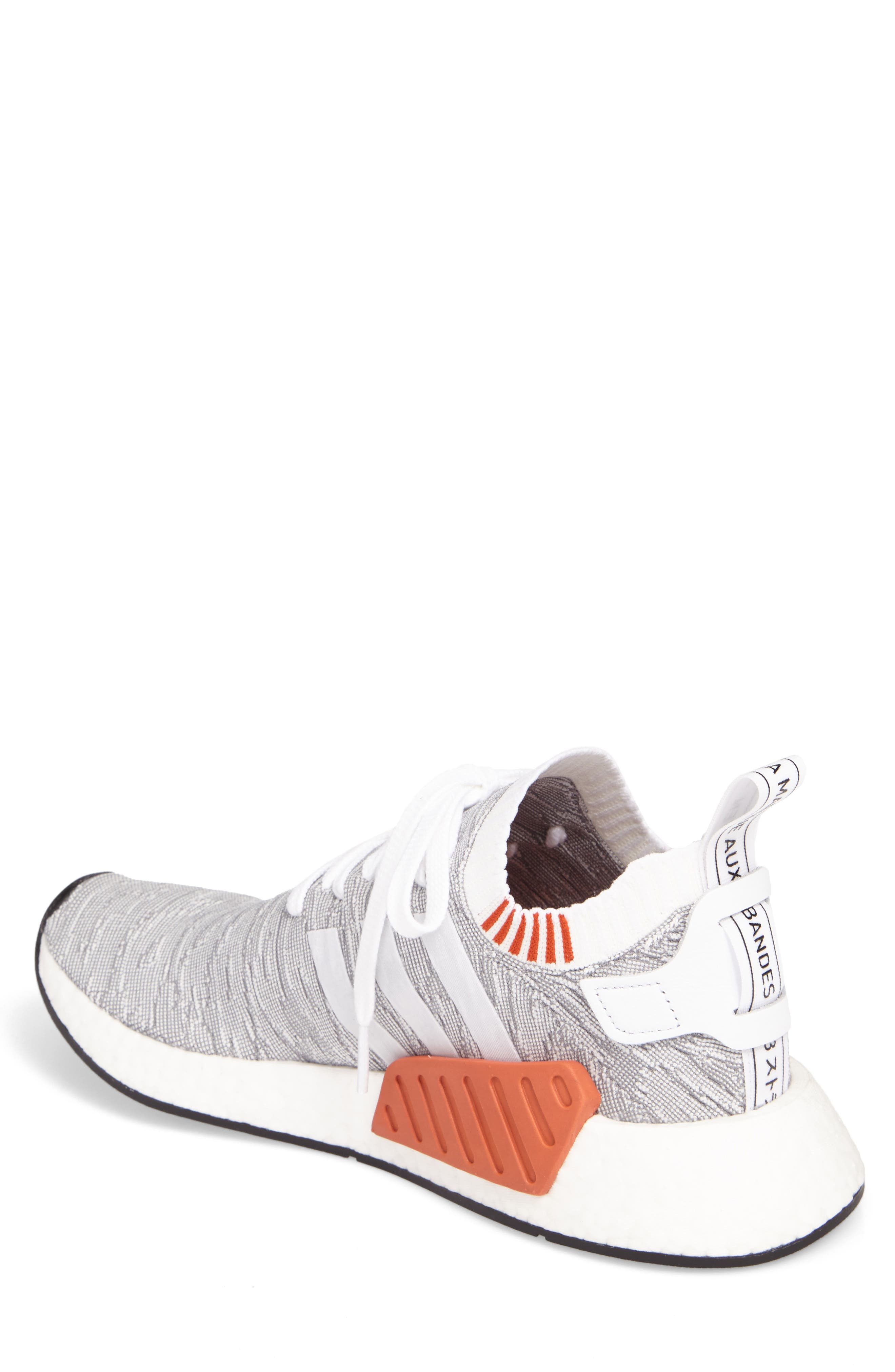 NMD R2 Primeknit Running Shoe,                             Alternate thumbnail 2, color,                             White/ White/ Core Black