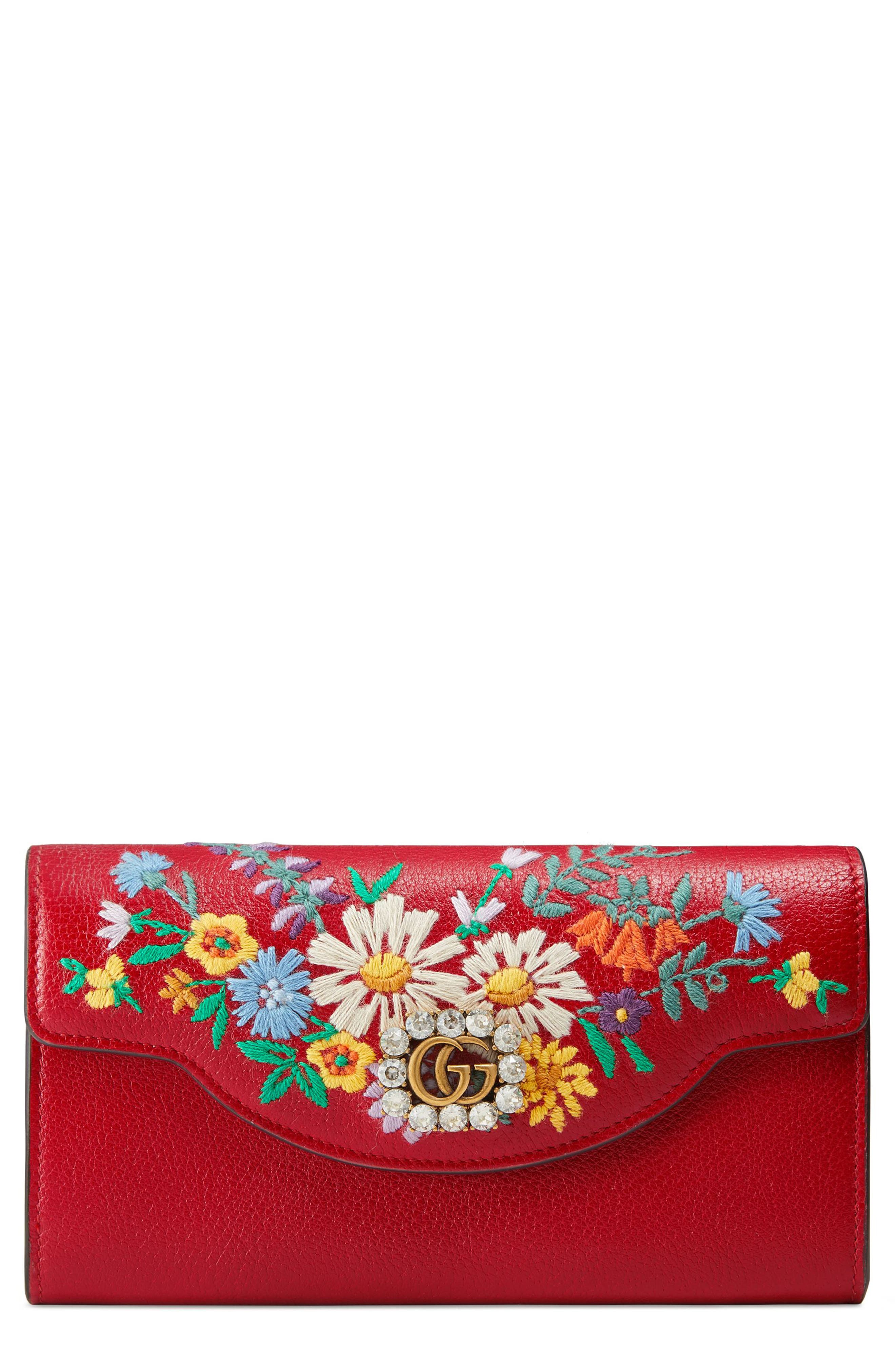 Ricamo Fiori Floral Embroidered Continental Wallet,                         Main,                         color, Hibiscus Red Multi
