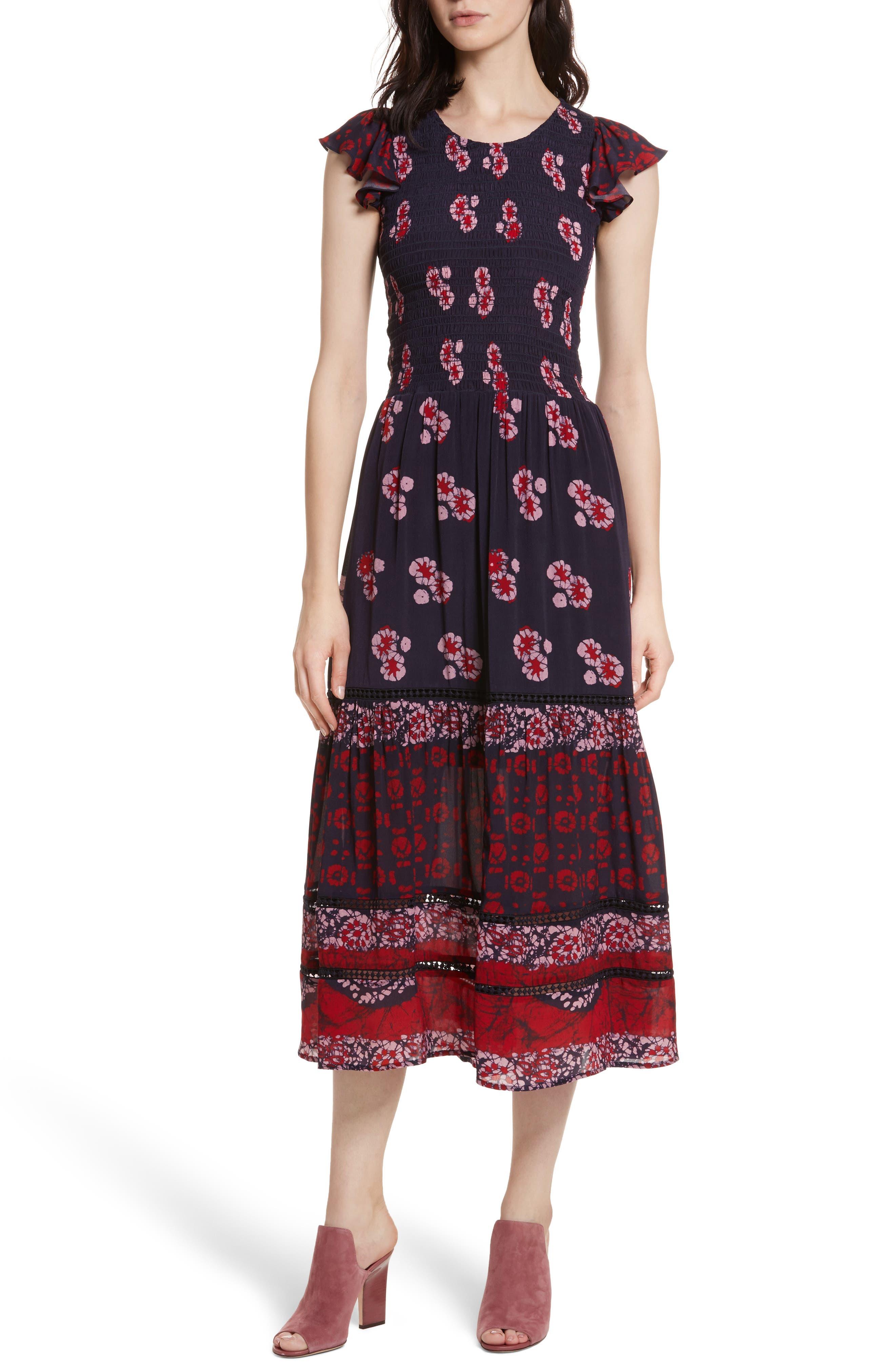 Print Flutter Sleeve Midi Dress,                         Main,                         color, Red Multi