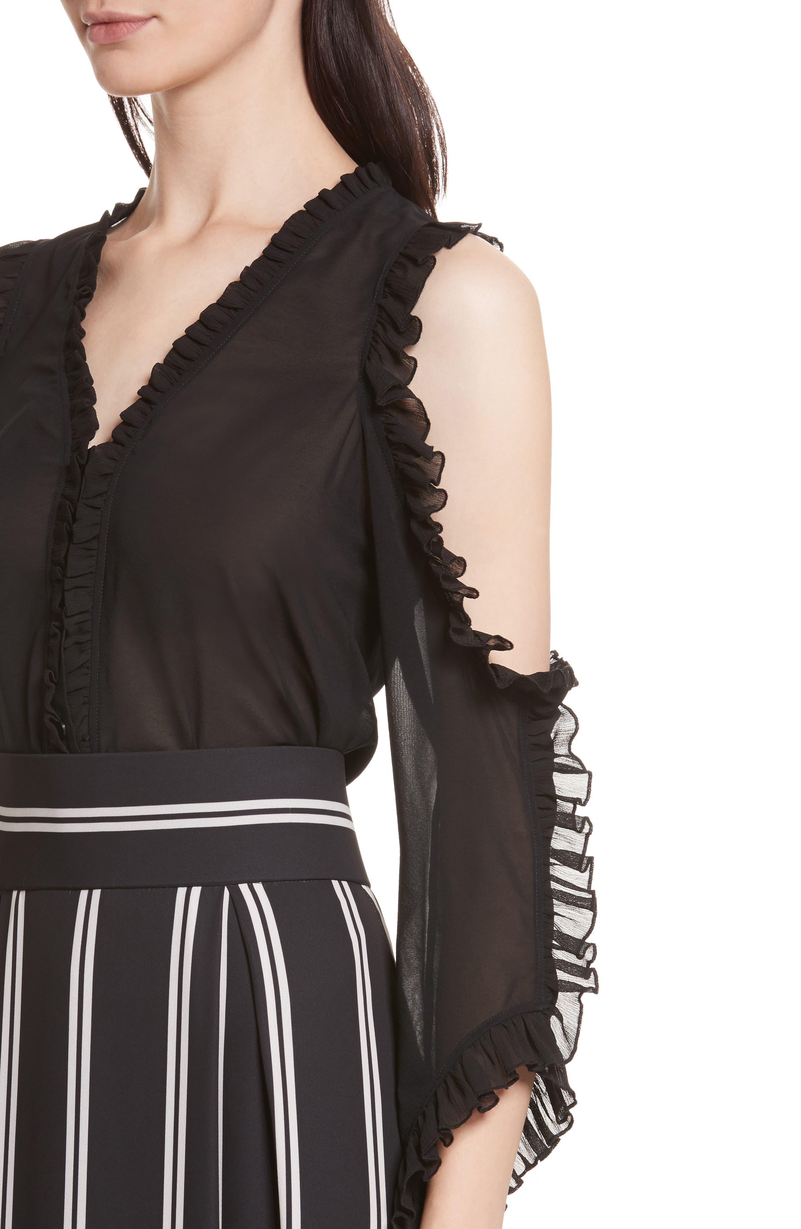 Claudette Cold Shoulder Blouse,                             Alternate thumbnail 4, color,                             Black