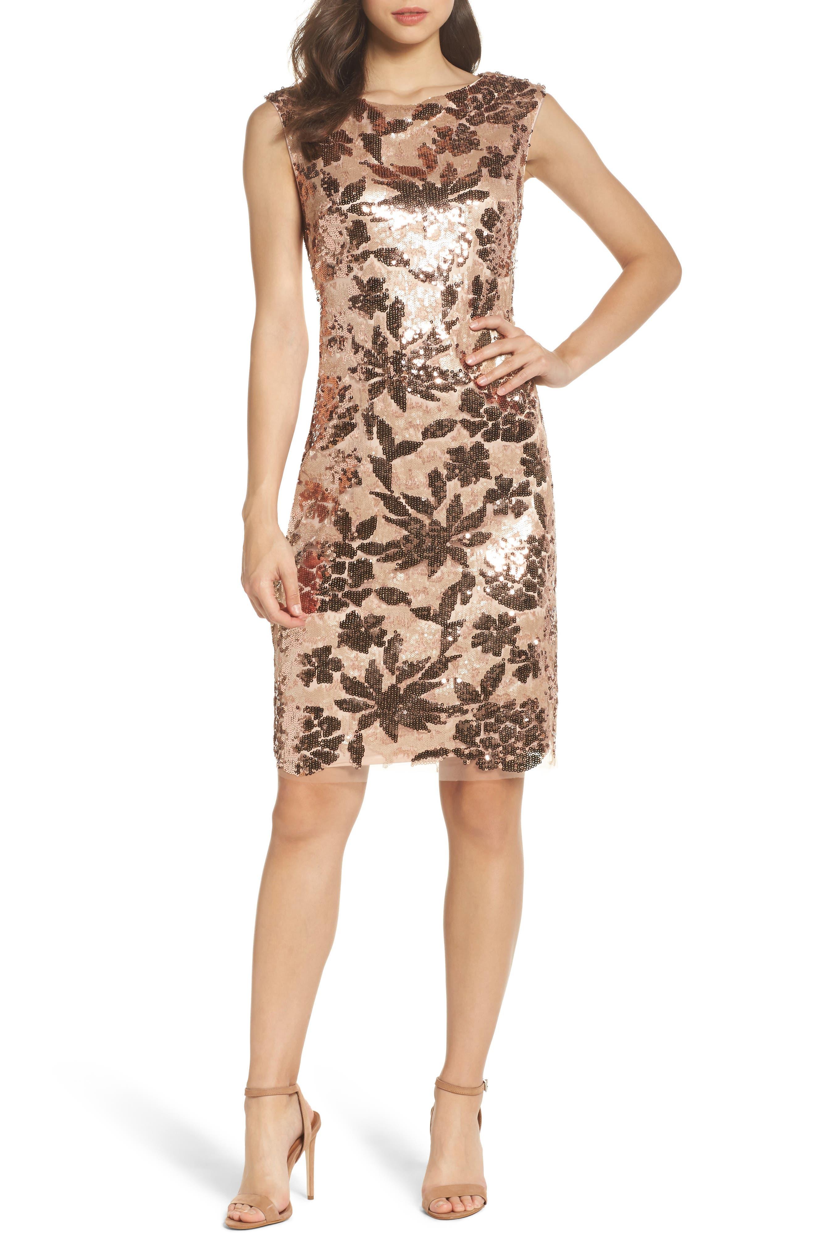 Sequin Body-Con Dress,                             Main thumbnail 1, color,                             Rose Gold