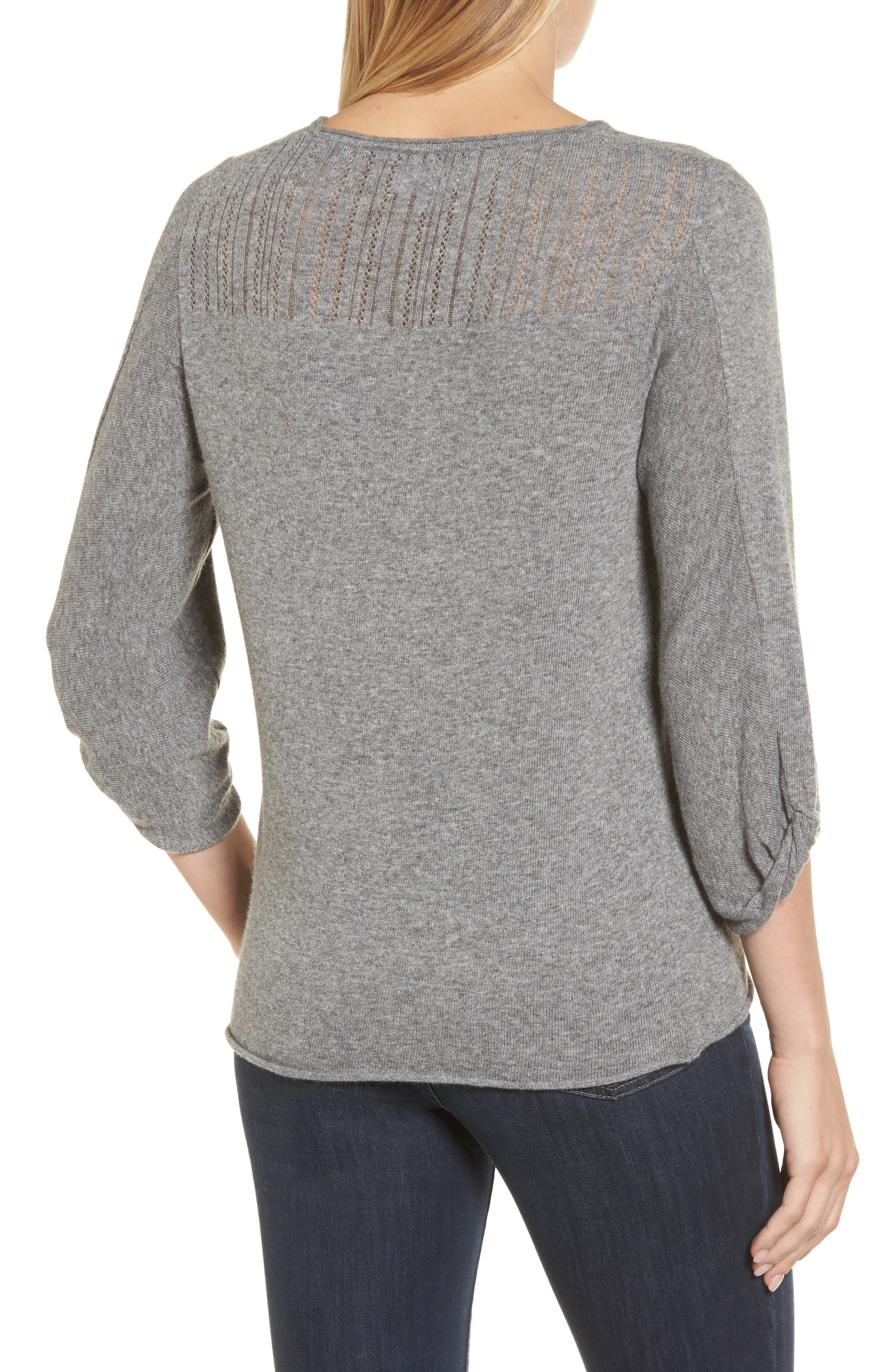 Pointelle Yoke Sweater,                             Alternate thumbnail 2, color,                             Heather Grey