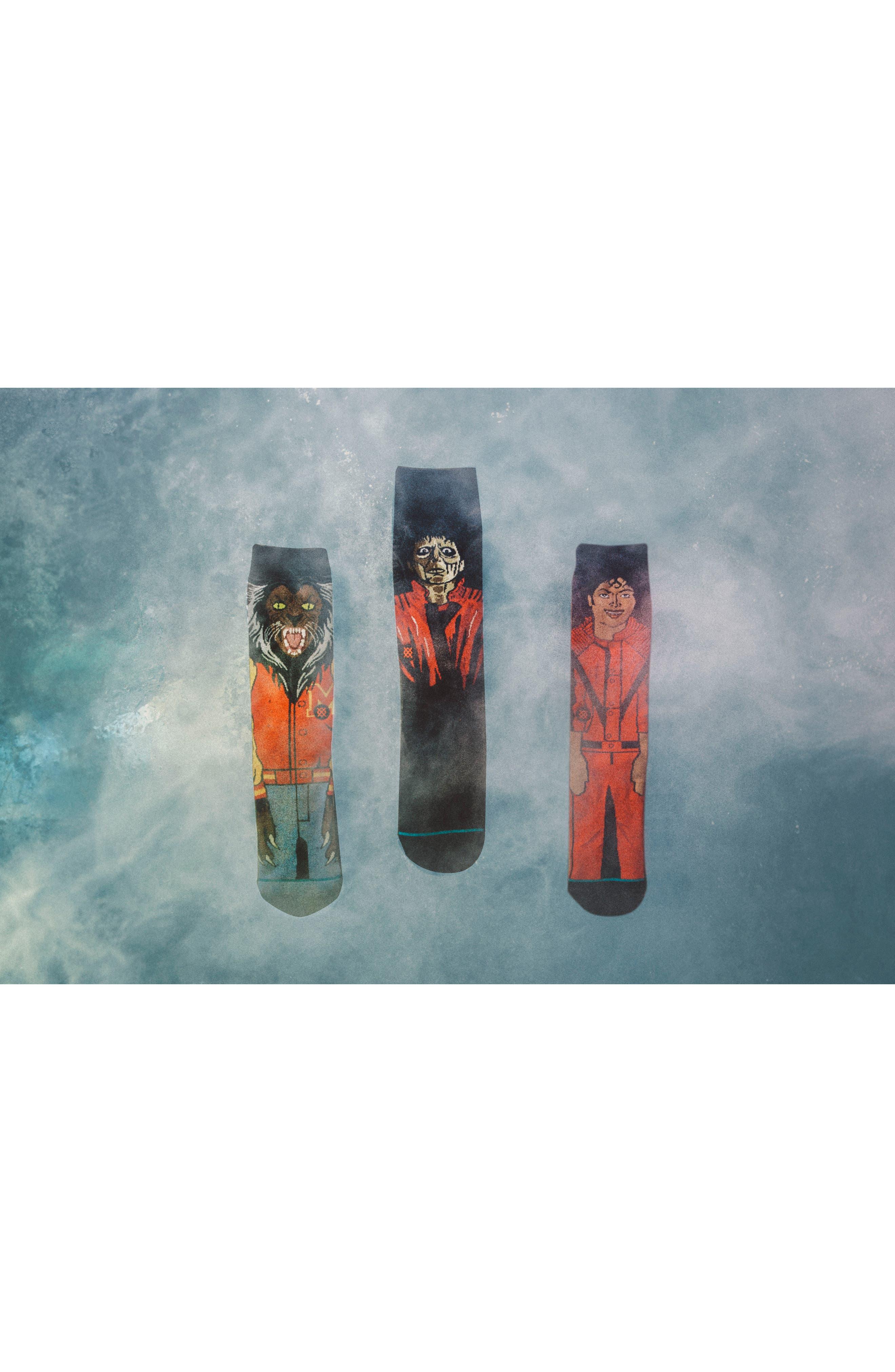 3-Pack Michael Jackson Thriller Socks,                             Alternate thumbnail 4, color,                             Red Multi