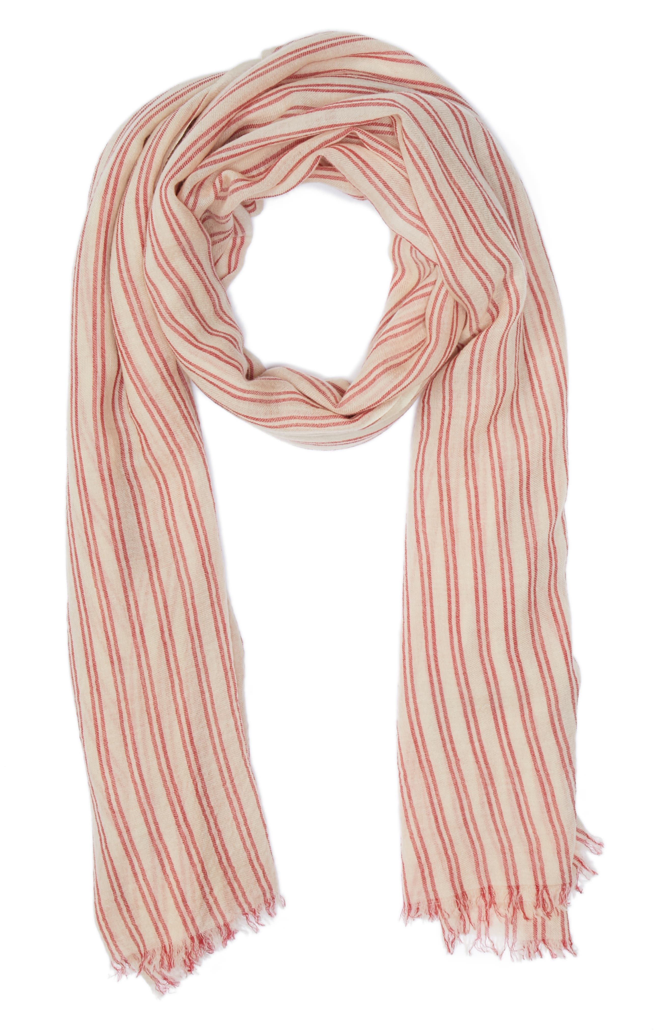Woody Stripe Wool Scarf,                             Main thumbnail 1, color,                             Ecru/ Red