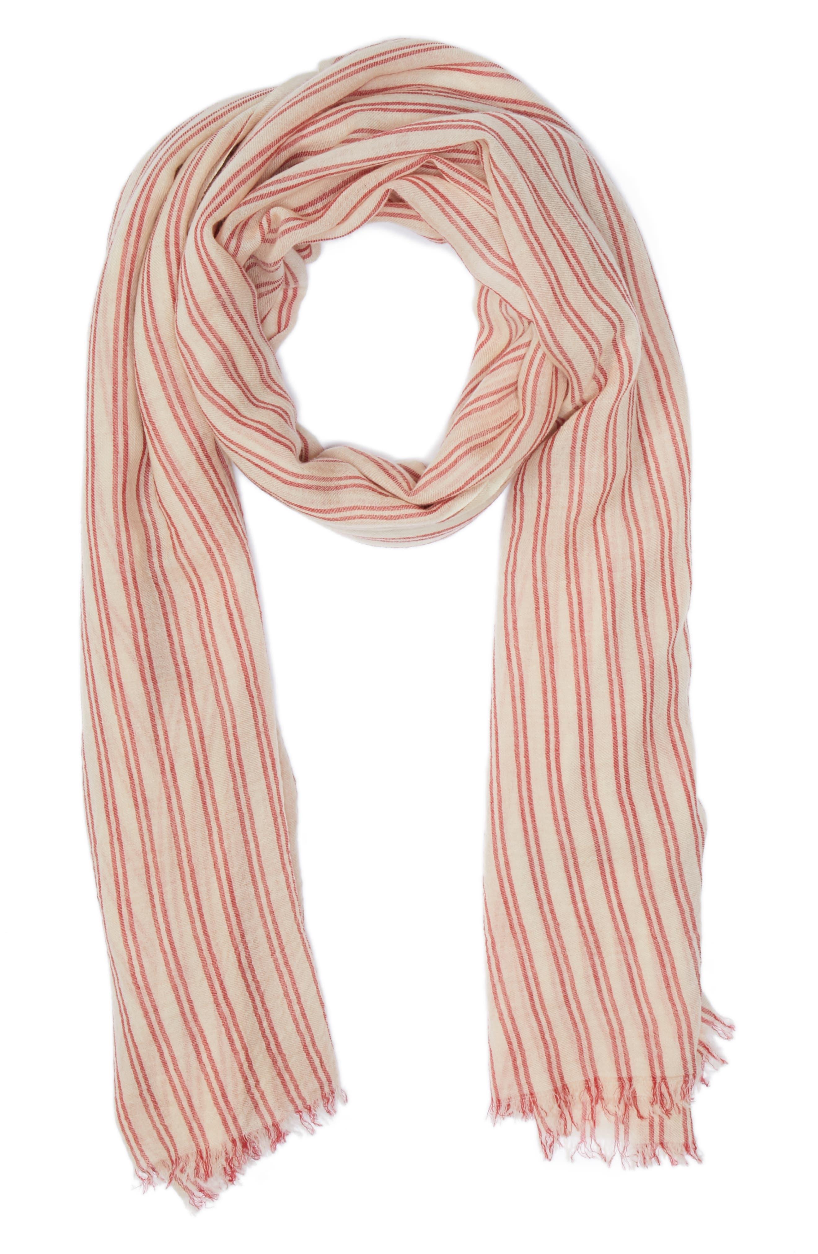 Woody Stripe Wool Scarf,                         Main,                         color, Ecru/ Red