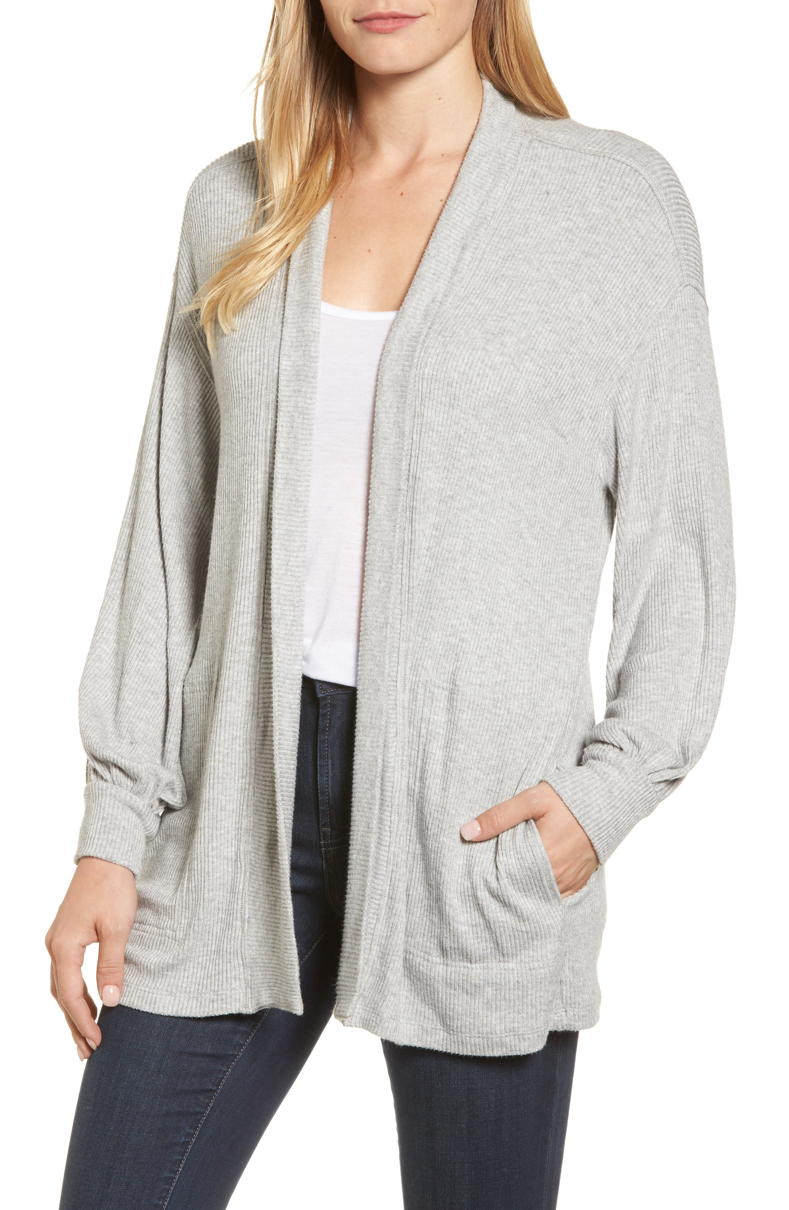 Ribbed Blouson Sleeve Cardigan,                         Main,                         color, Heather Grey