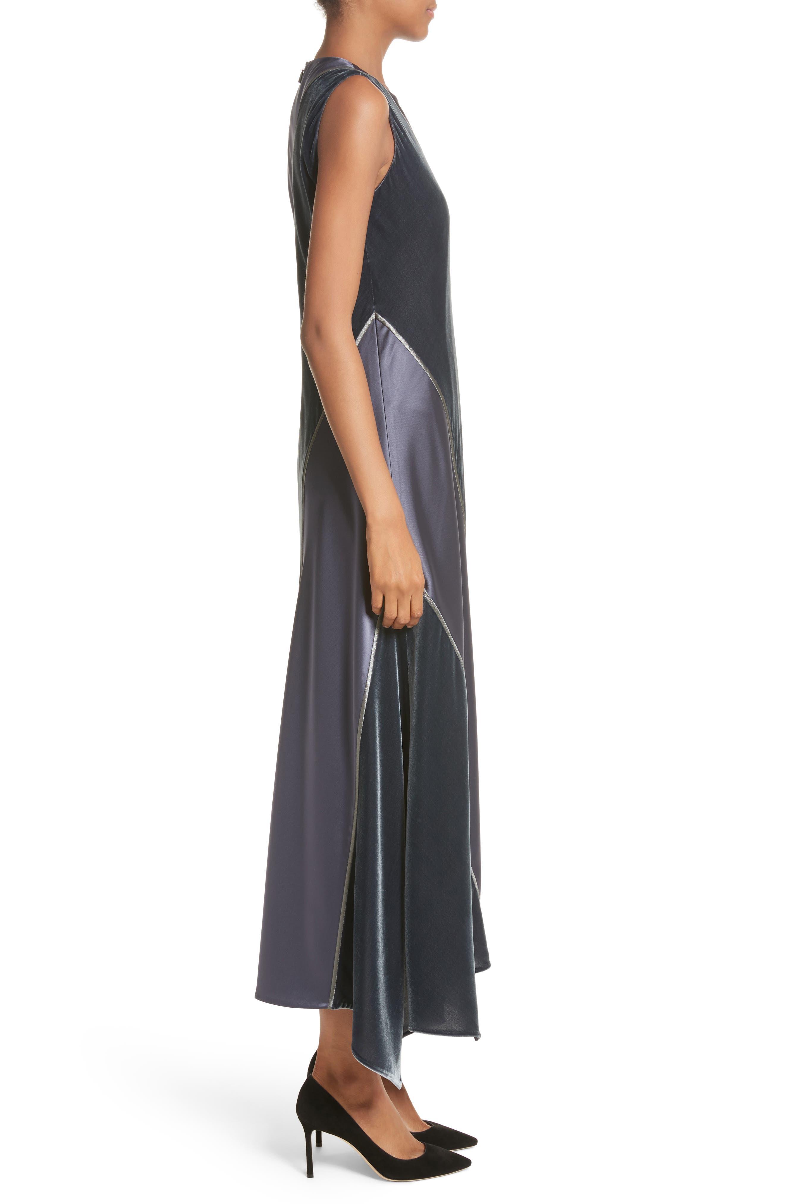 Madelia Velvet & Satin Midi Dress,                             Alternate thumbnail 3, color,                             Admiral Blue
