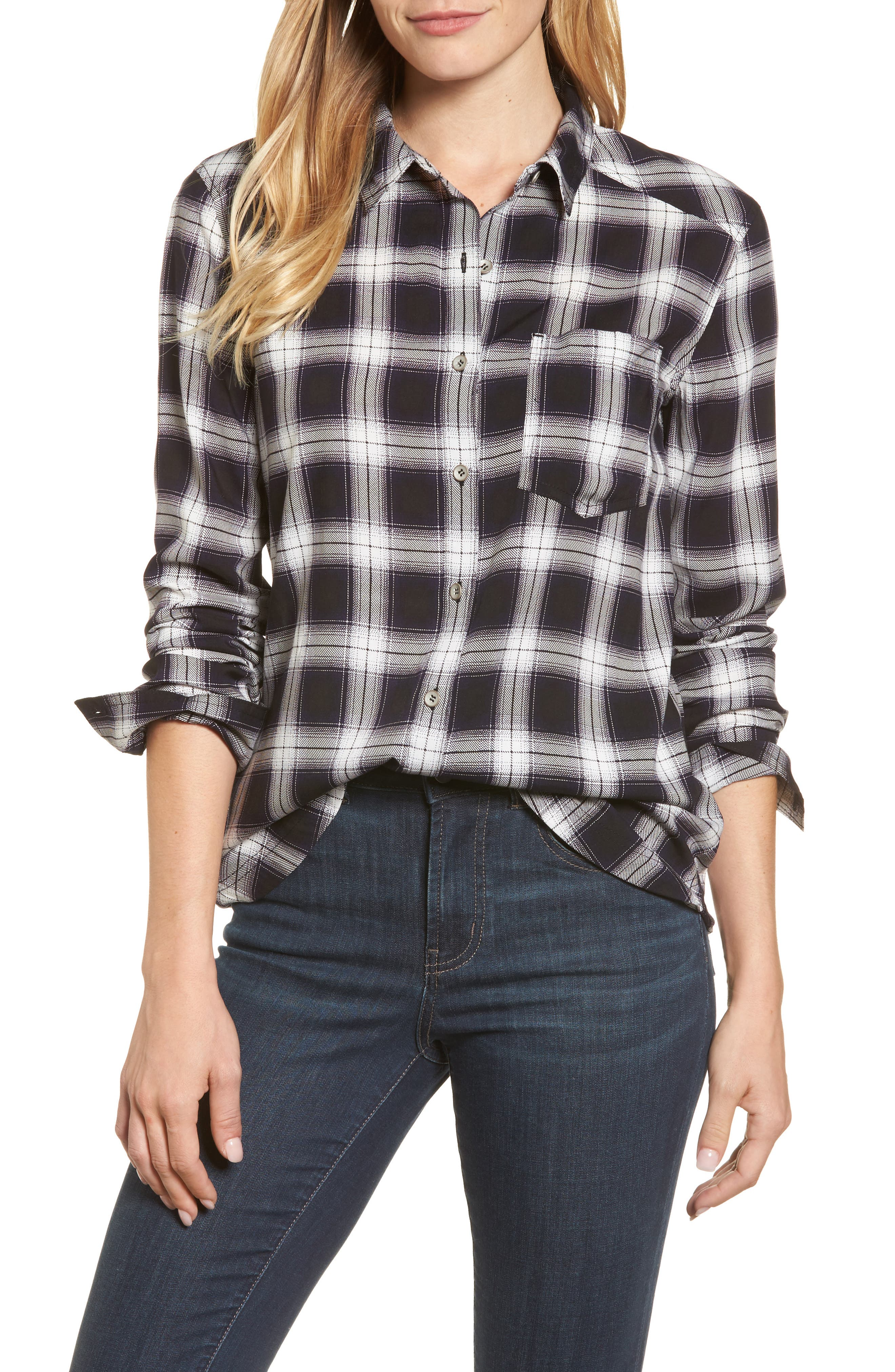Plaid Shirt,                         Main,                         color, Black- White Plaid