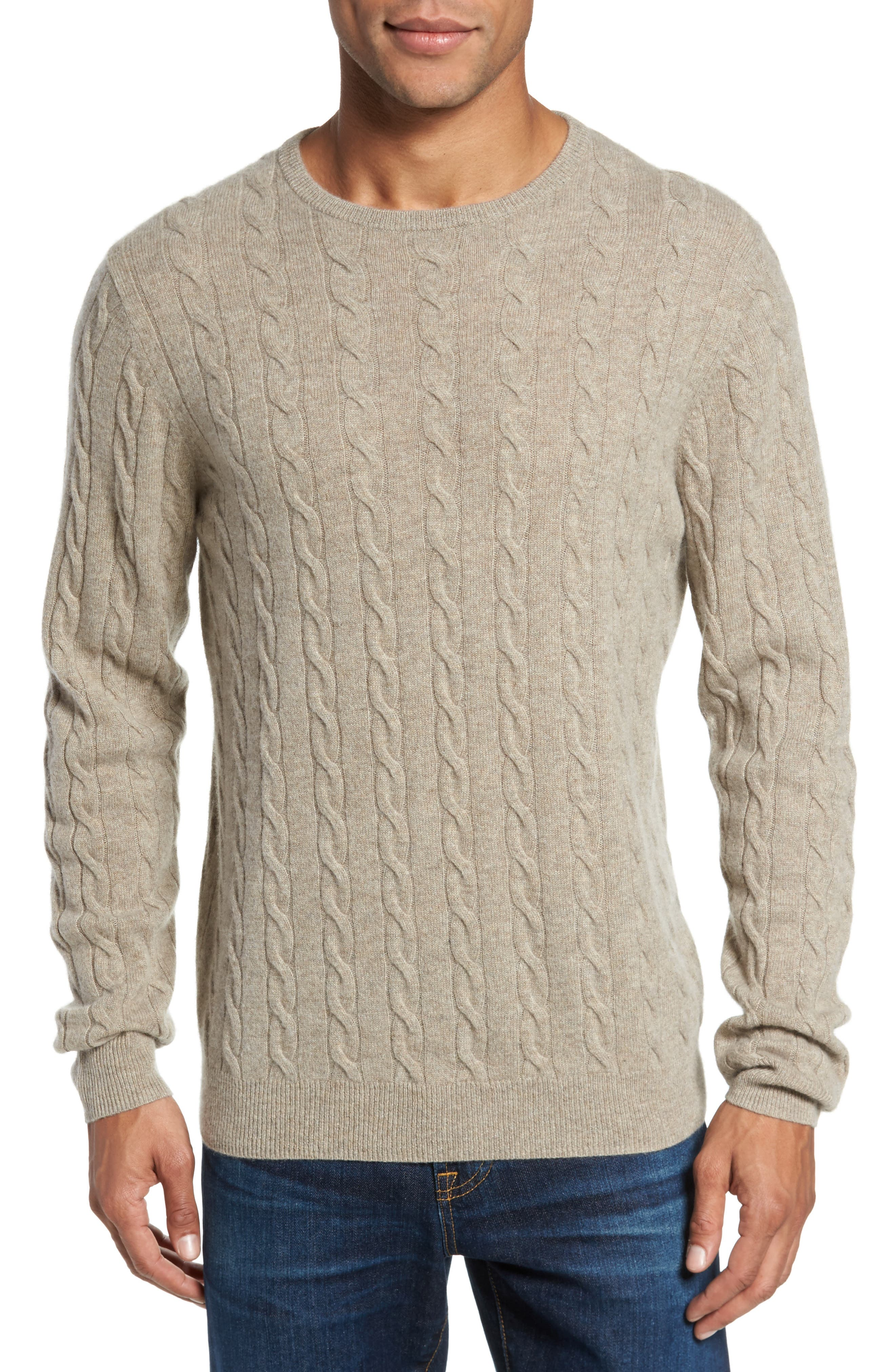 Main Image - Nordstrom Men's Shop Cashmere Cable Knit Sweater