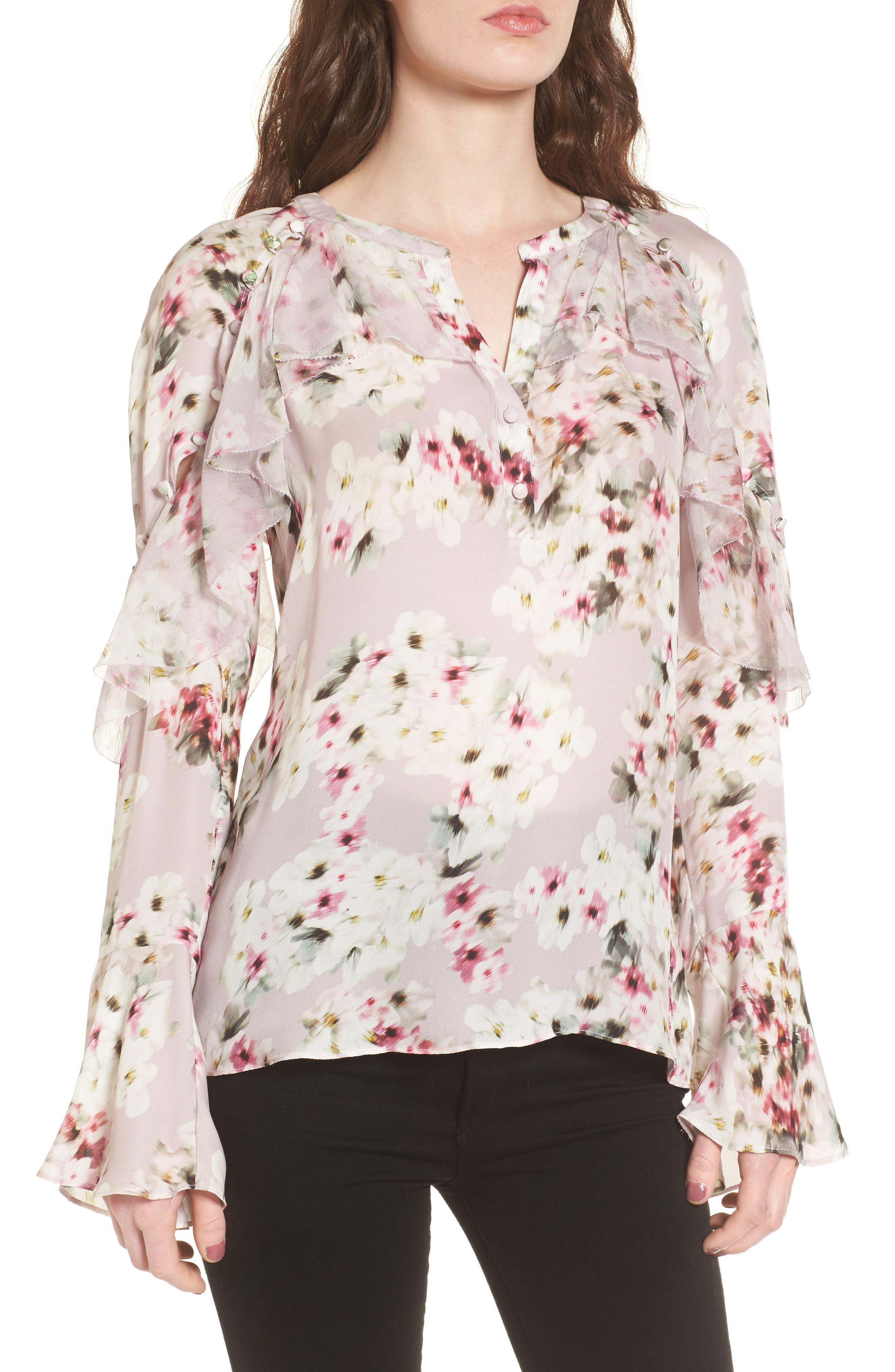 Dixie Silk Blouse,                         Main,                         color, Blush Shadow