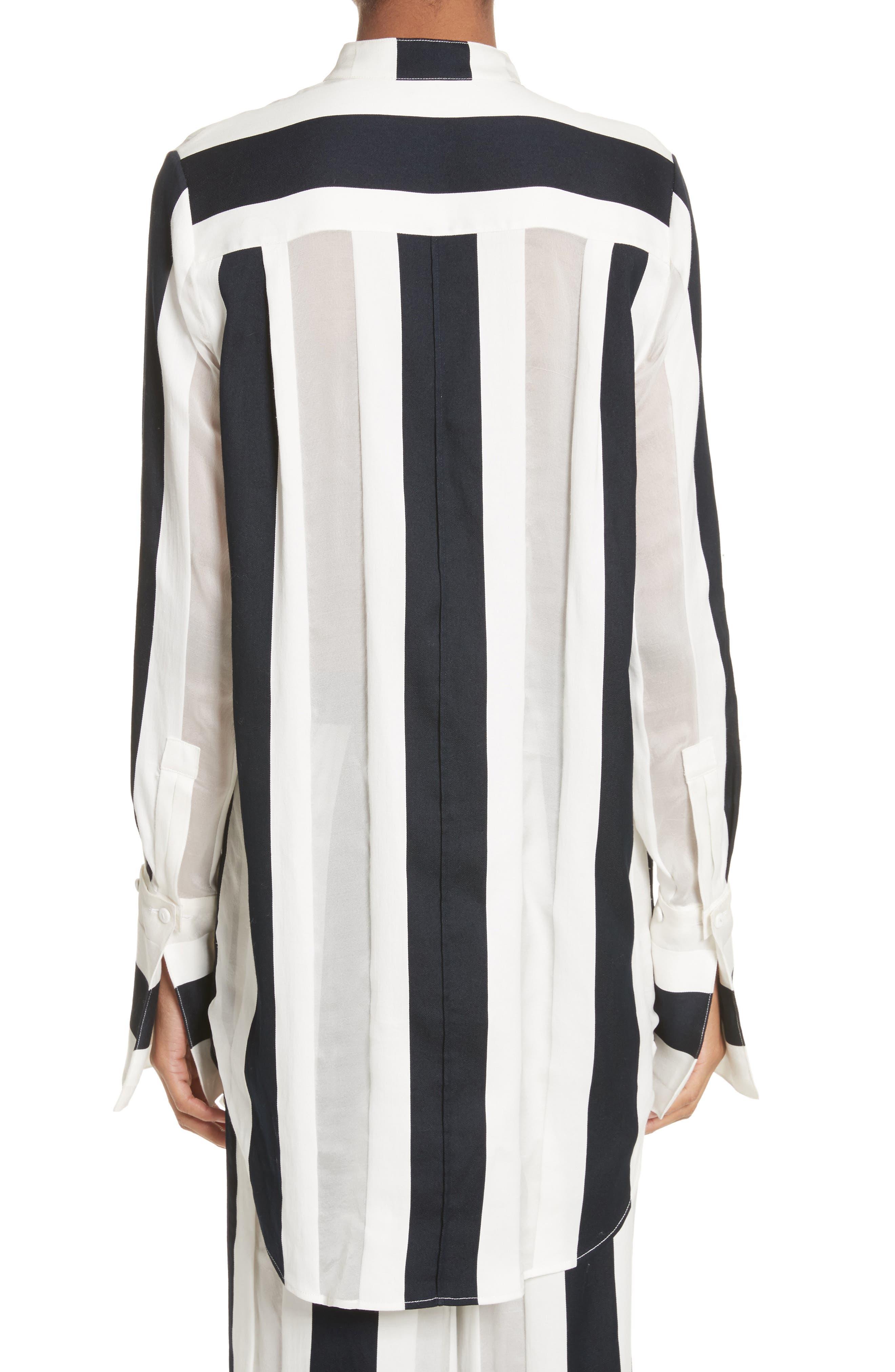 Cotton & Silk Stripe Jacquard Blouse,                             Alternate thumbnail 2, color,                             Black/ White