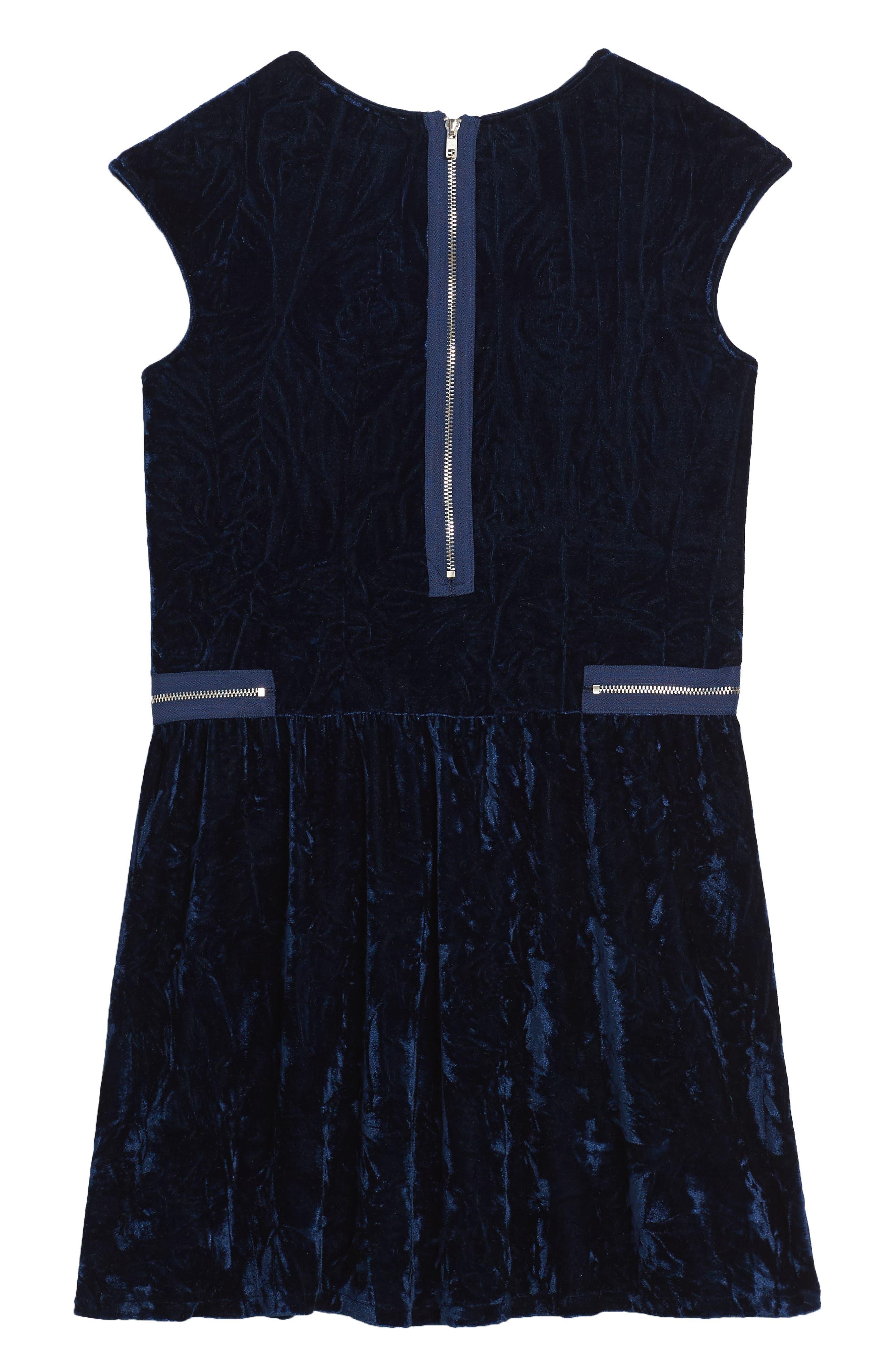 Velvet Dress,                             Alternate thumbnail 2, color,                             Navy