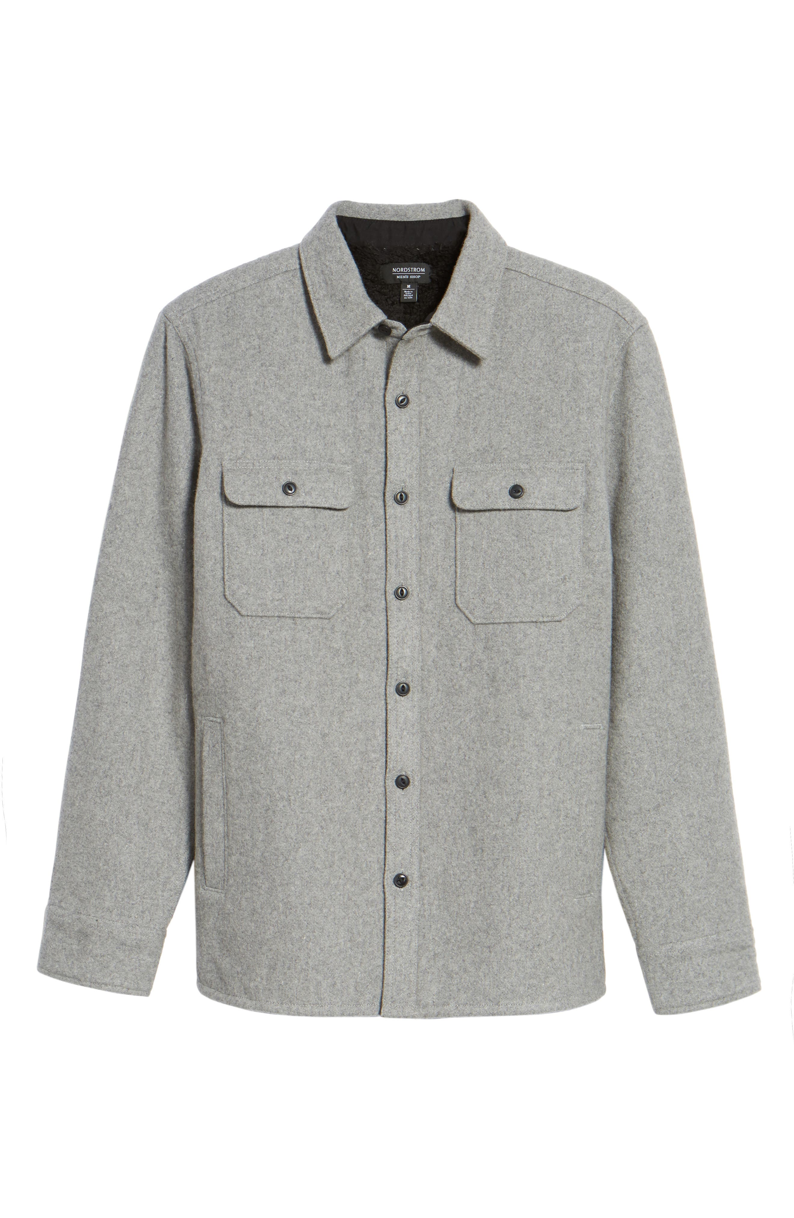 Shirt Jacket,                             Alternate thumbnail 6, color,                             Heather Grey