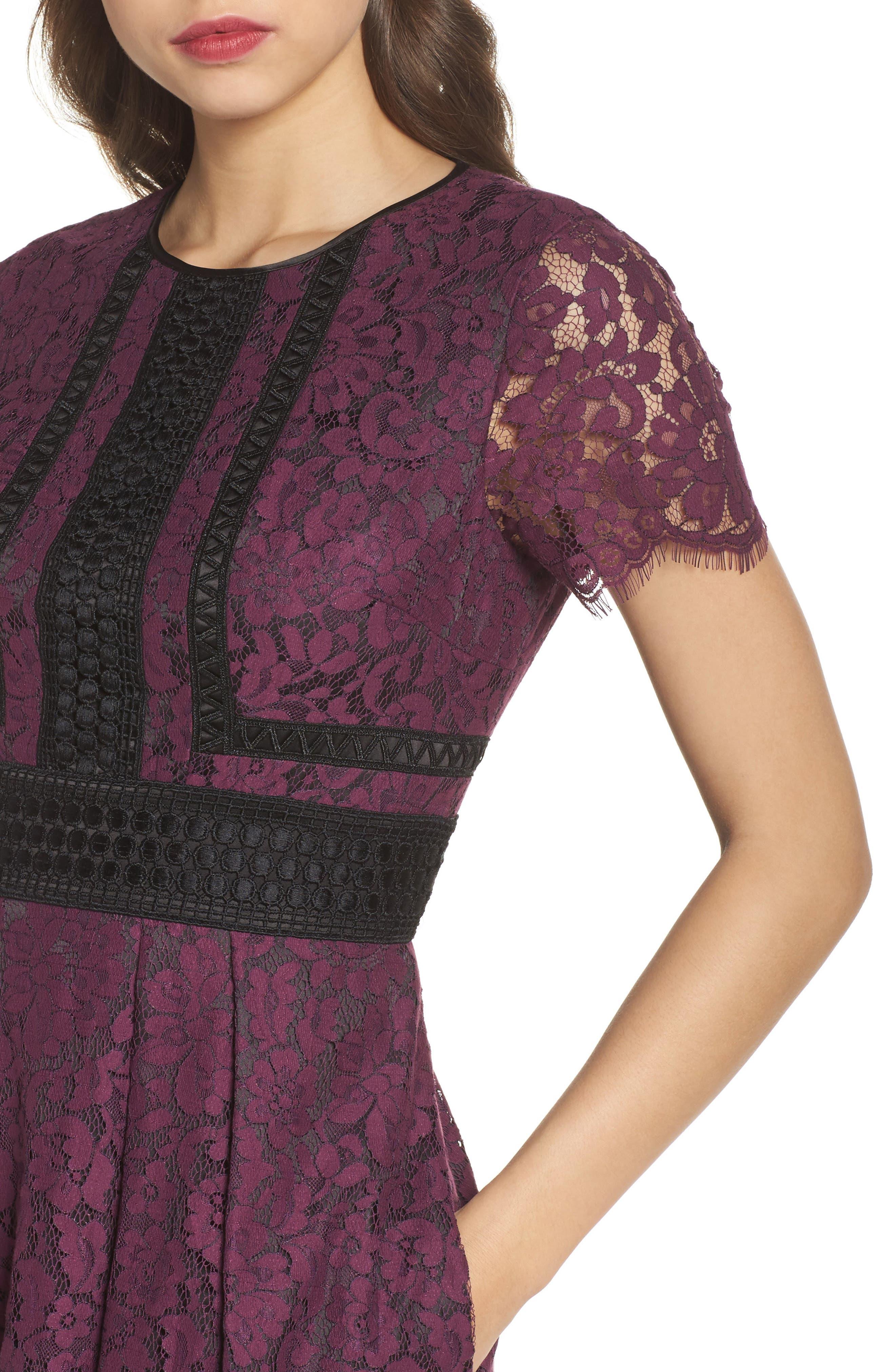 Lace Fit & Flare Dress,                             Alternate thumbnail 4, color,                             Raisin