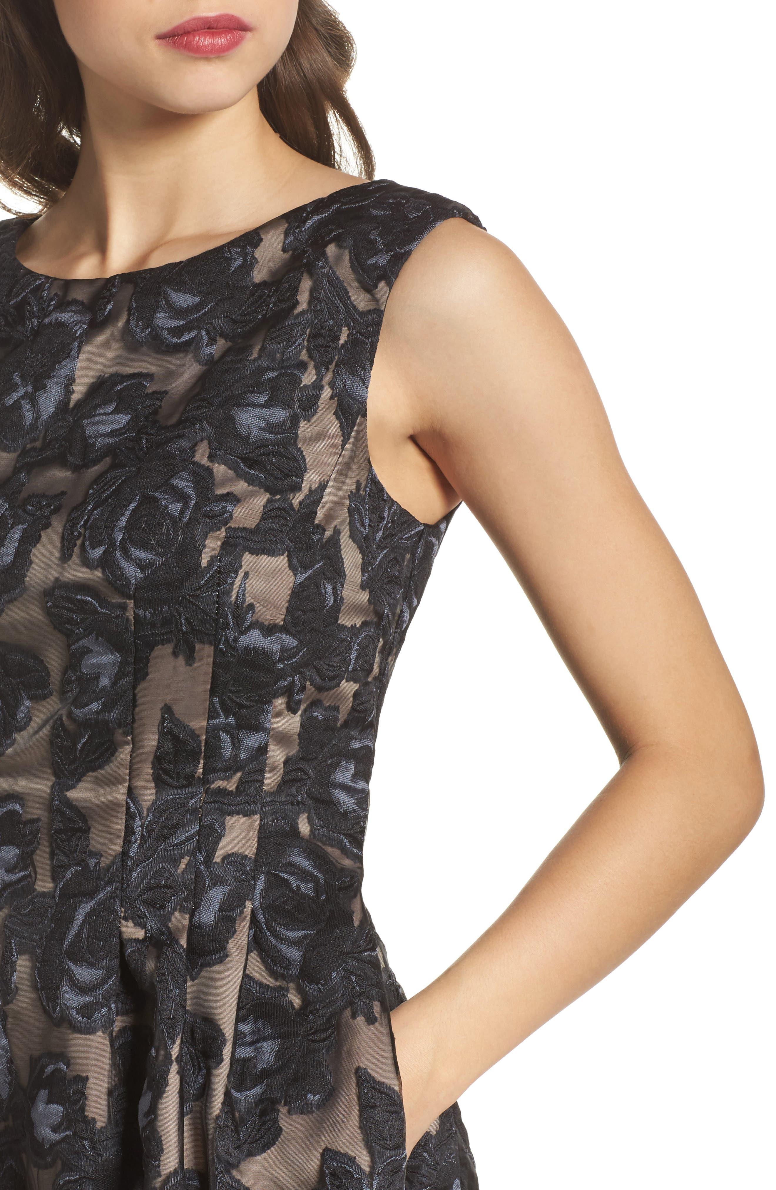 Burnout Fit & Flare Dress,                             Alternate thumbnail 4, color,                             Black