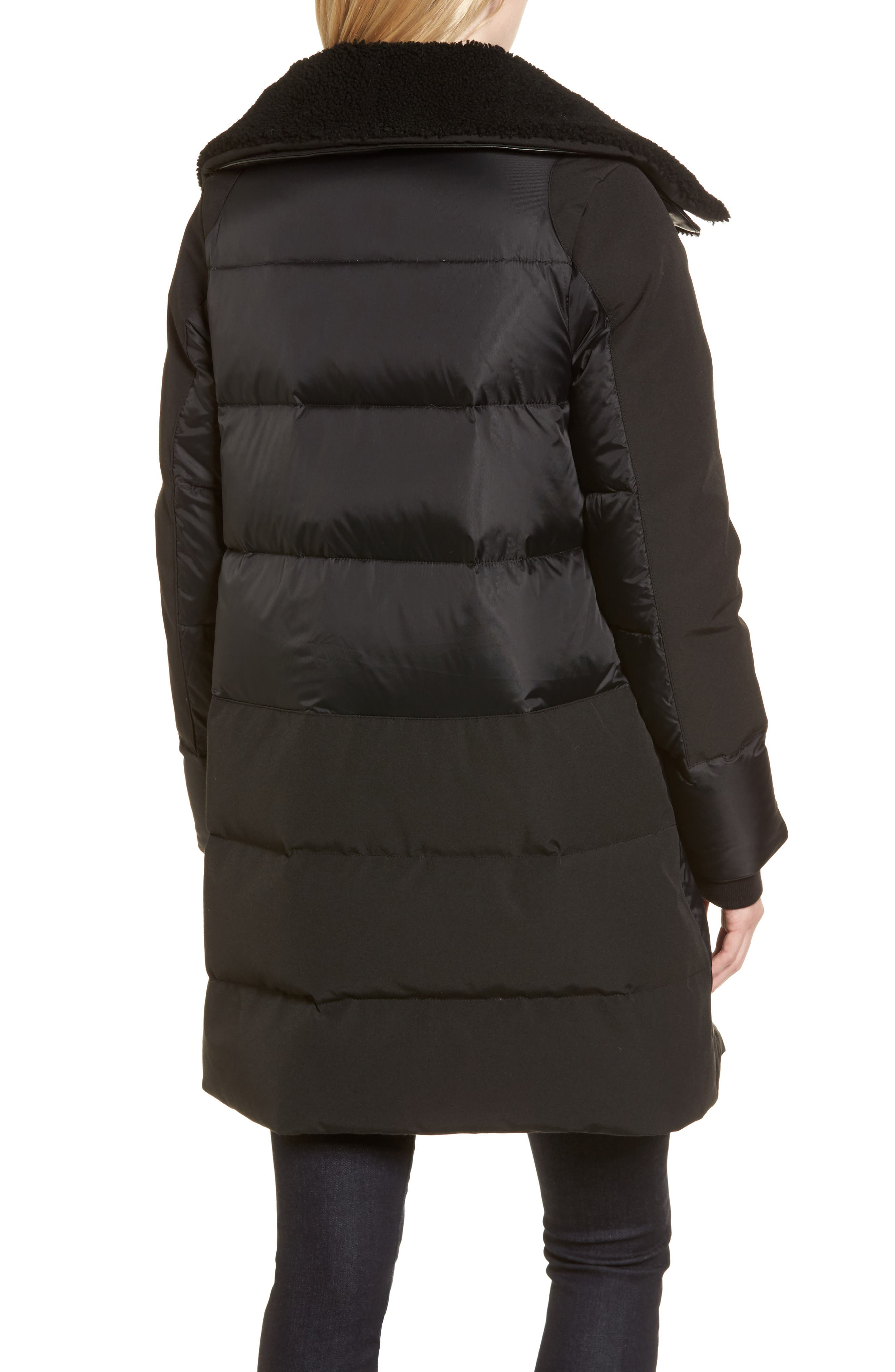 Altona Water Resistant 750-Fill Power Down Parka with Genuine Shearling Collar,                             Alternate thumbnail 2, color,                             Black