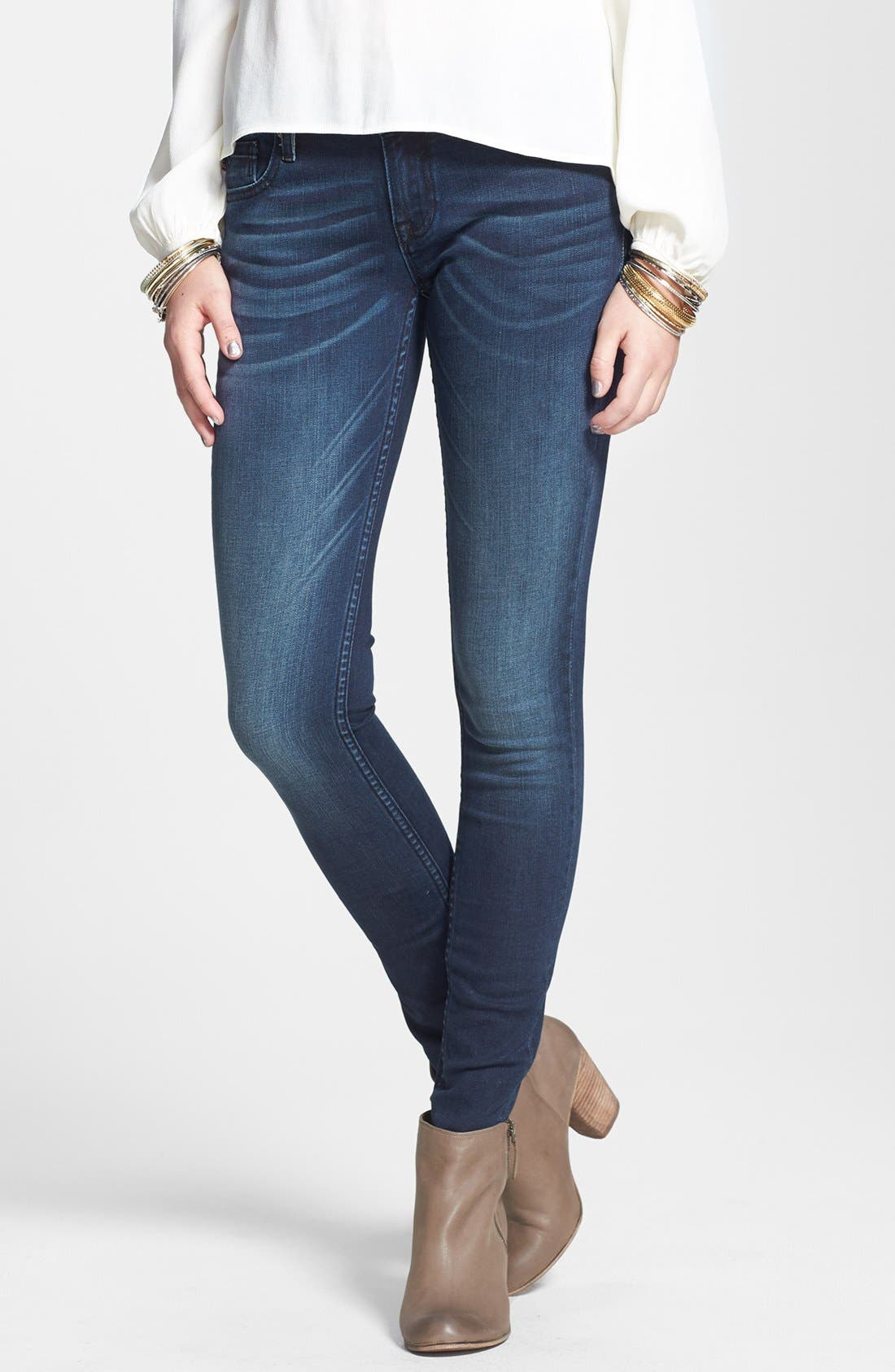 Main Image - Vigoss 'New York' Flap Pocket Skinny Jeans (Ink)