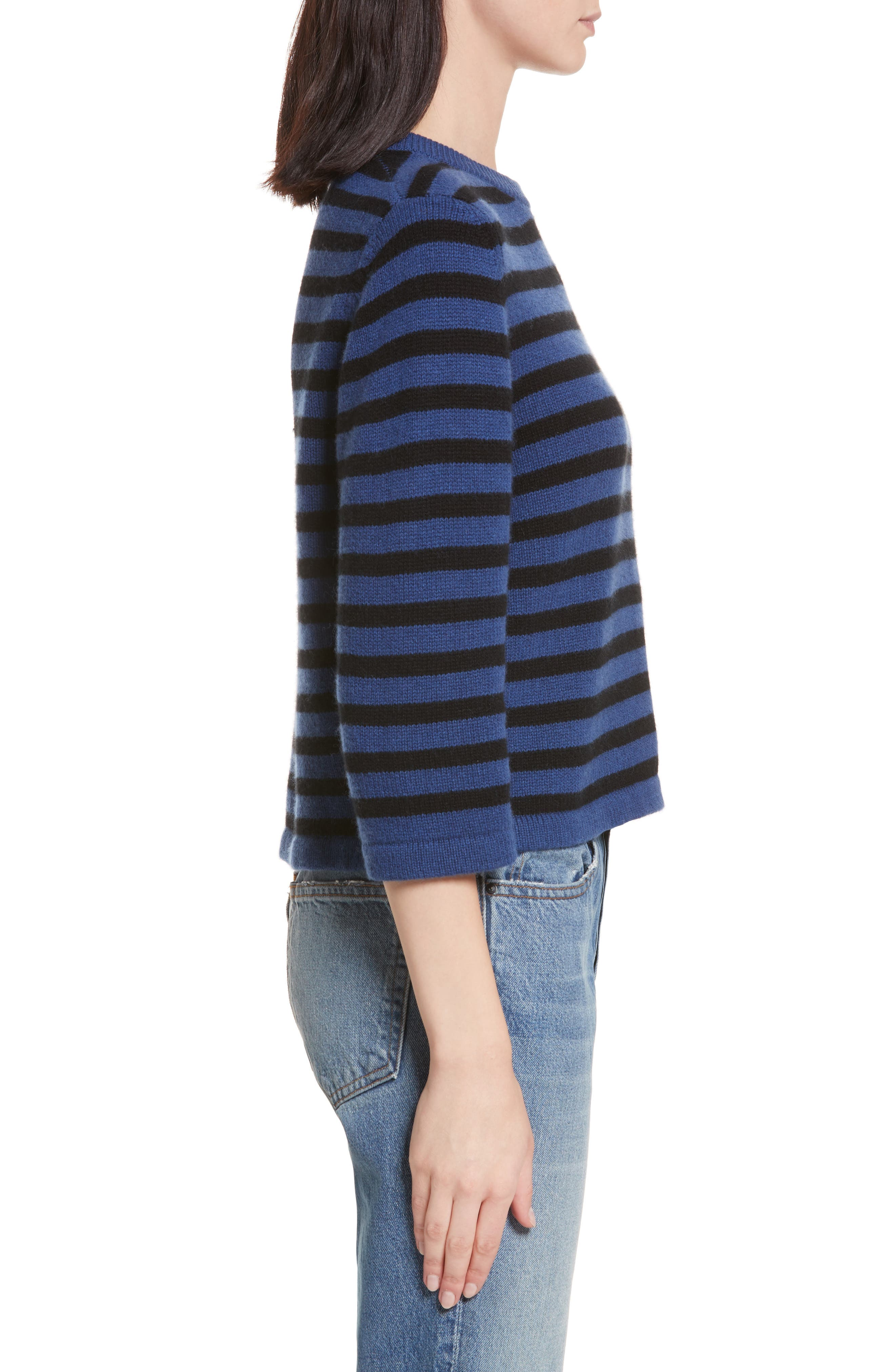 Crop Cashmere Sweater,                             Alternate thumbnail 4, color,                             Blue W/ Black Stripe