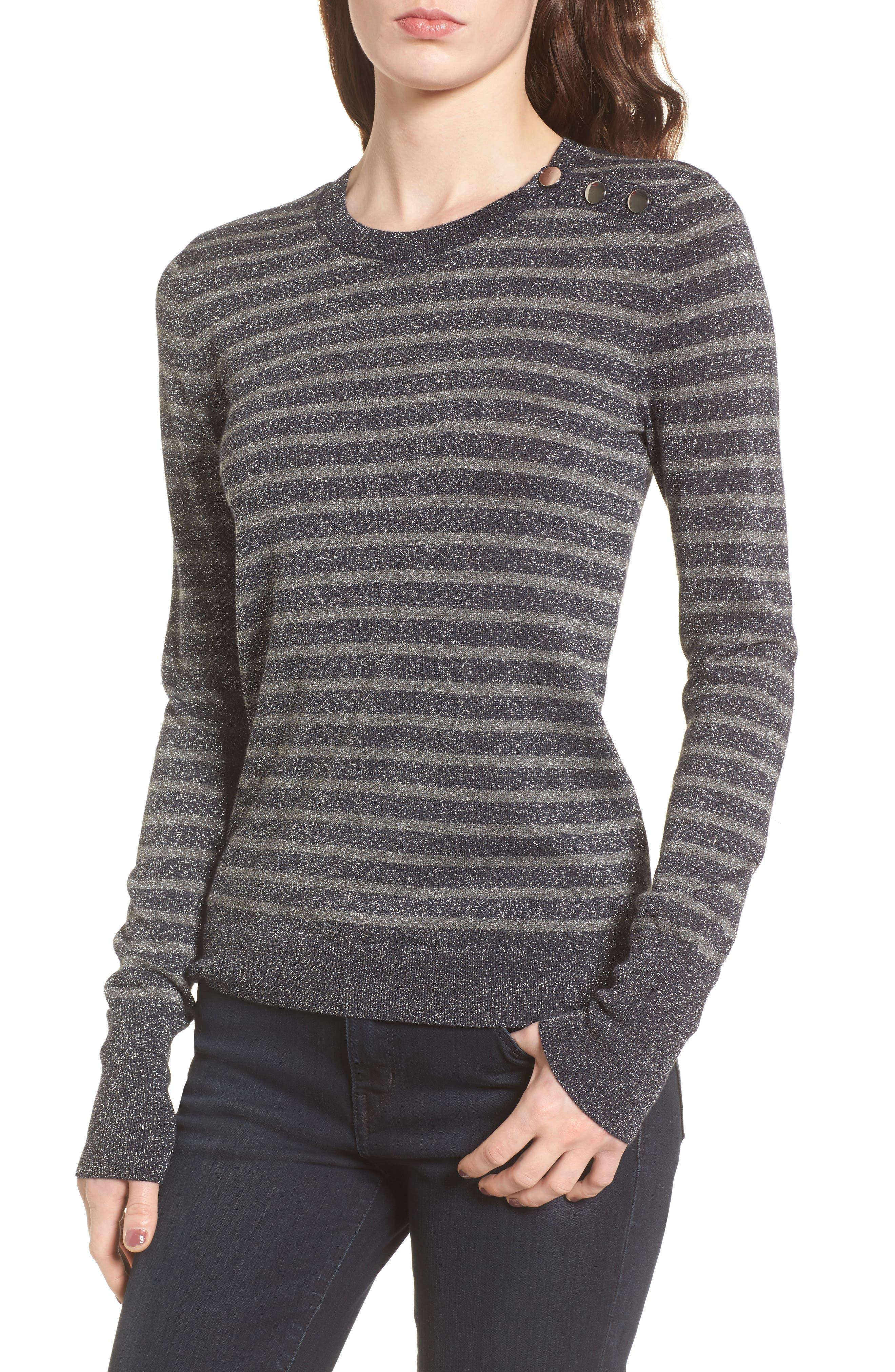 Sparkle Stripe Sweater,                         Main,                         color, Grey Dark Heather Combo