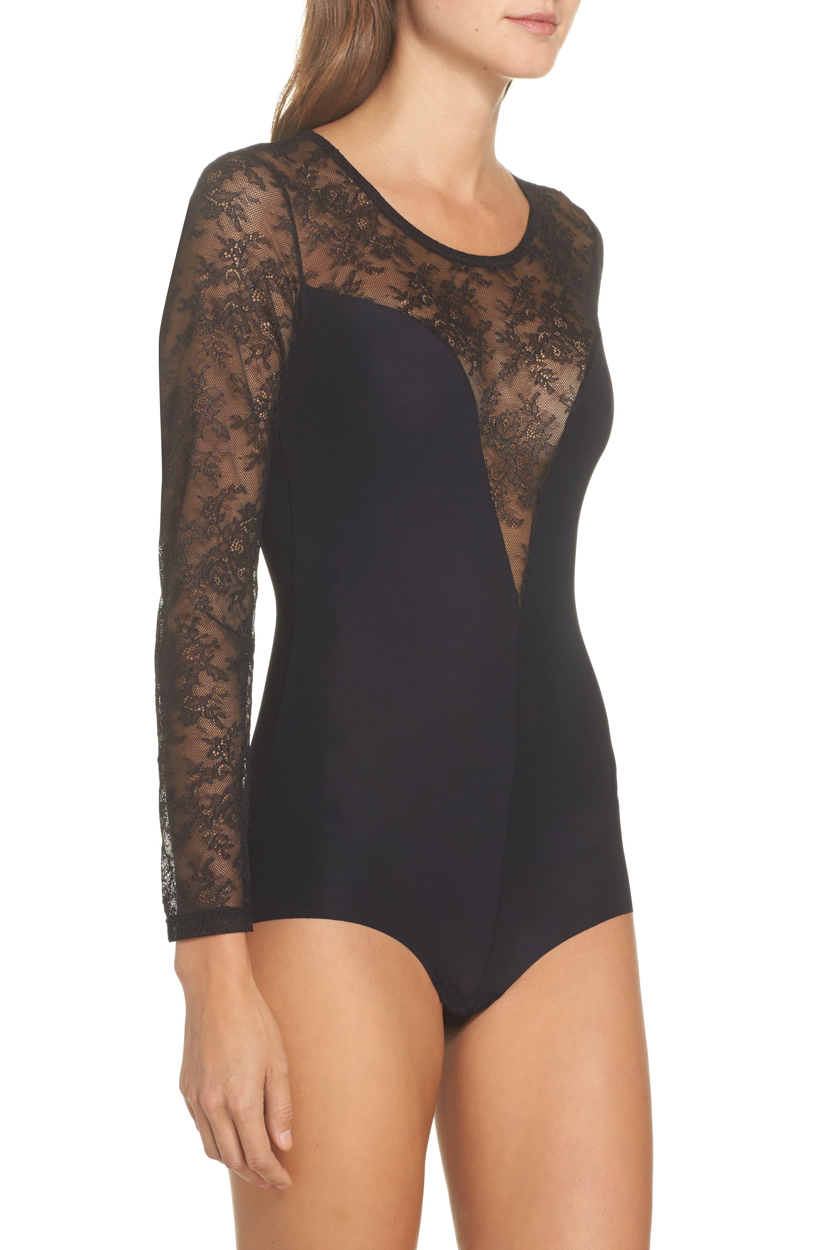 Odette Bodysuit,                             Alternate thumbnail 3, color,                             Black