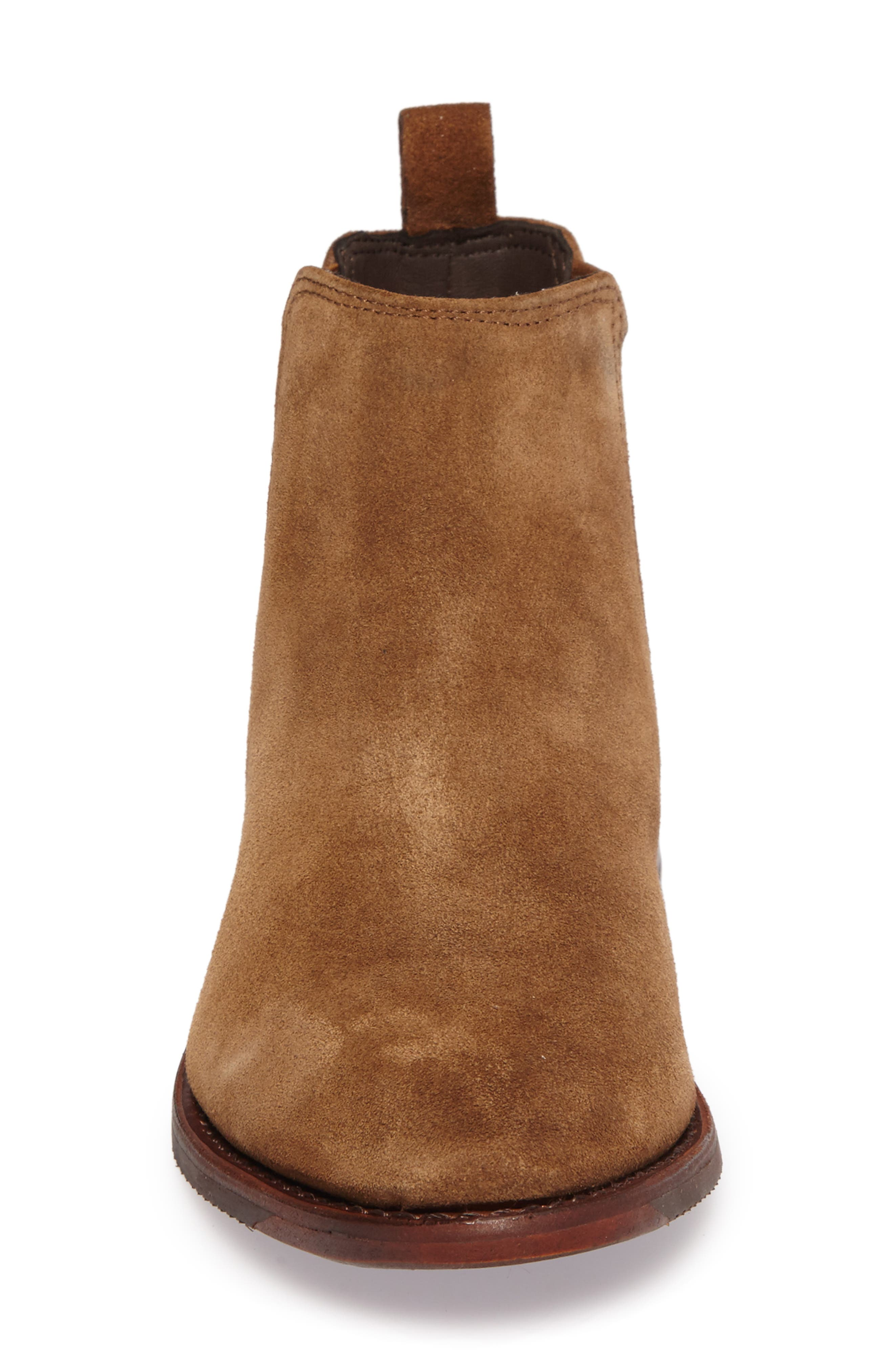 Gabrielle Chelsea Boot,                             Alternate thumbnail 4, color,                             Brown Suede