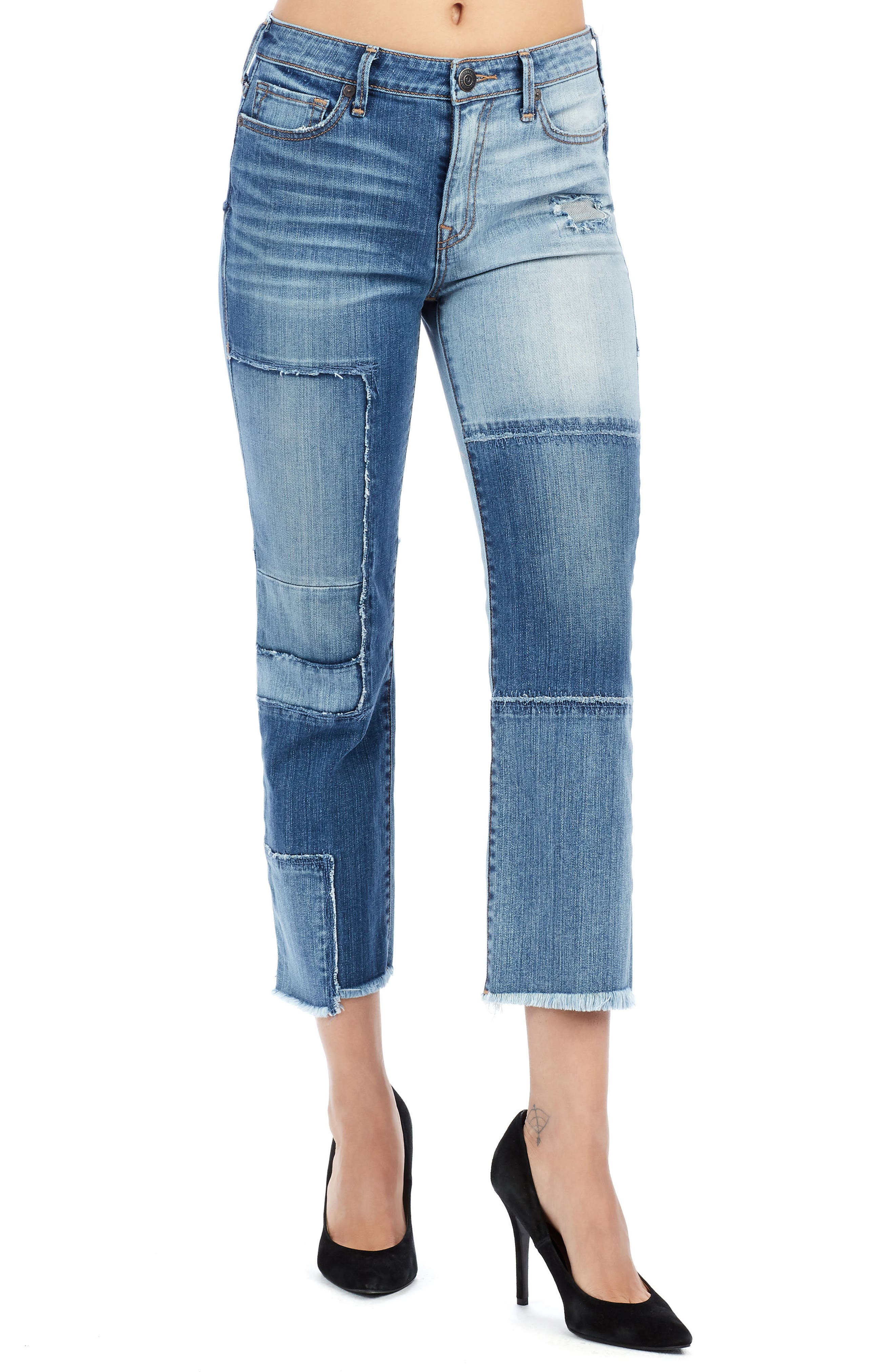 Stovepipe High Waist Crop Jeans,                         Main,                         color, Mykonos