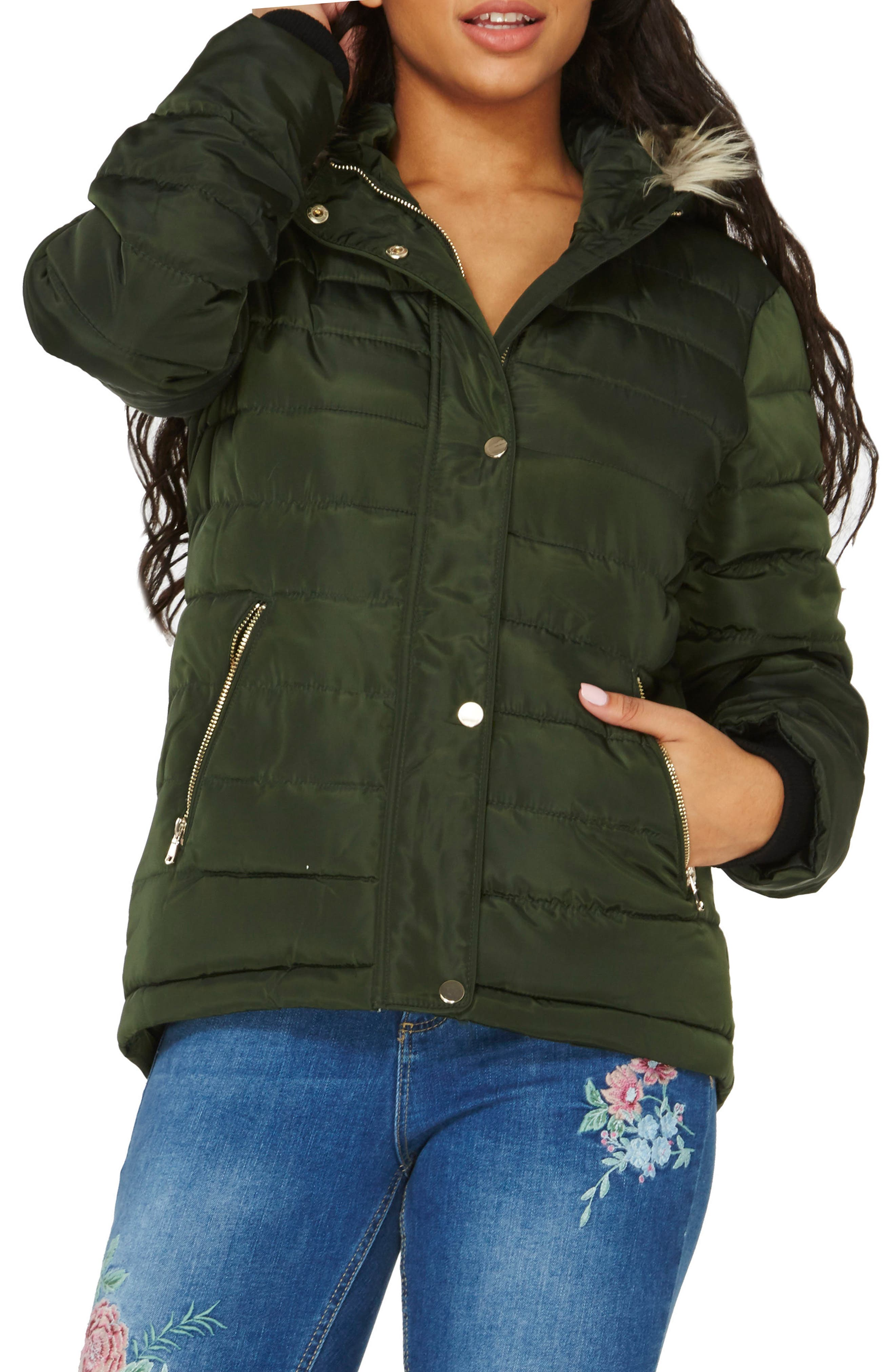 Hooded Faux Fur Puffer Jacket,                             Alternate thumbnail 3, color,                             Green