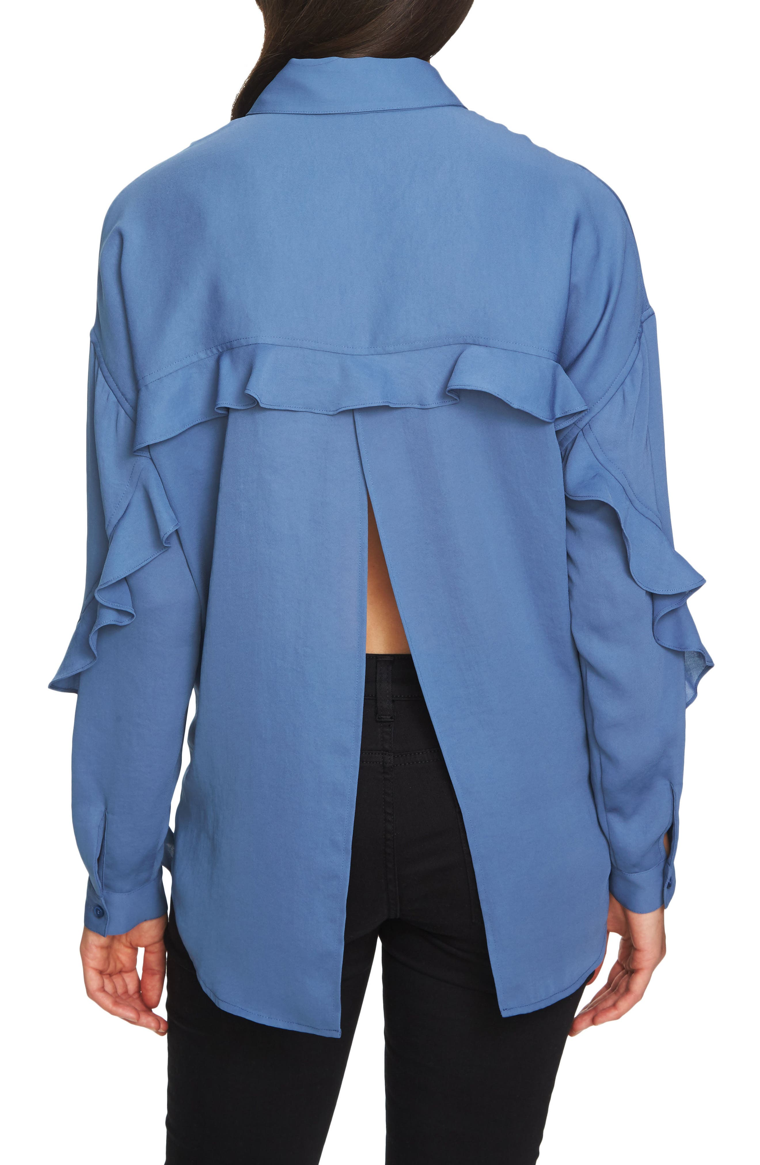 Alternate Image 2  - 1.STATE Ruffle Slit Back Blouse