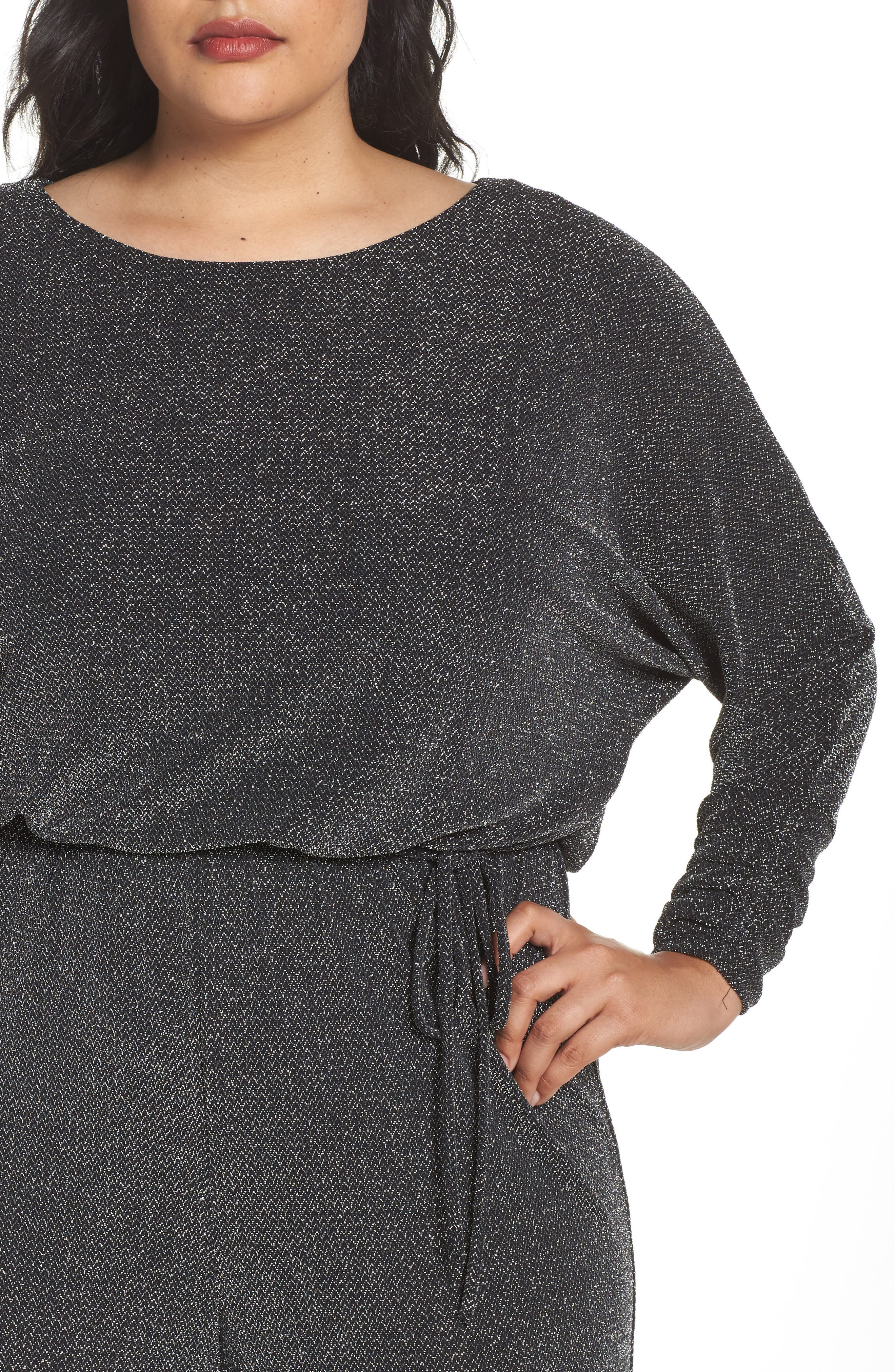 Alternate Image 4  - Eliza J Metallic Knit Jumpsuit (Plus Size)