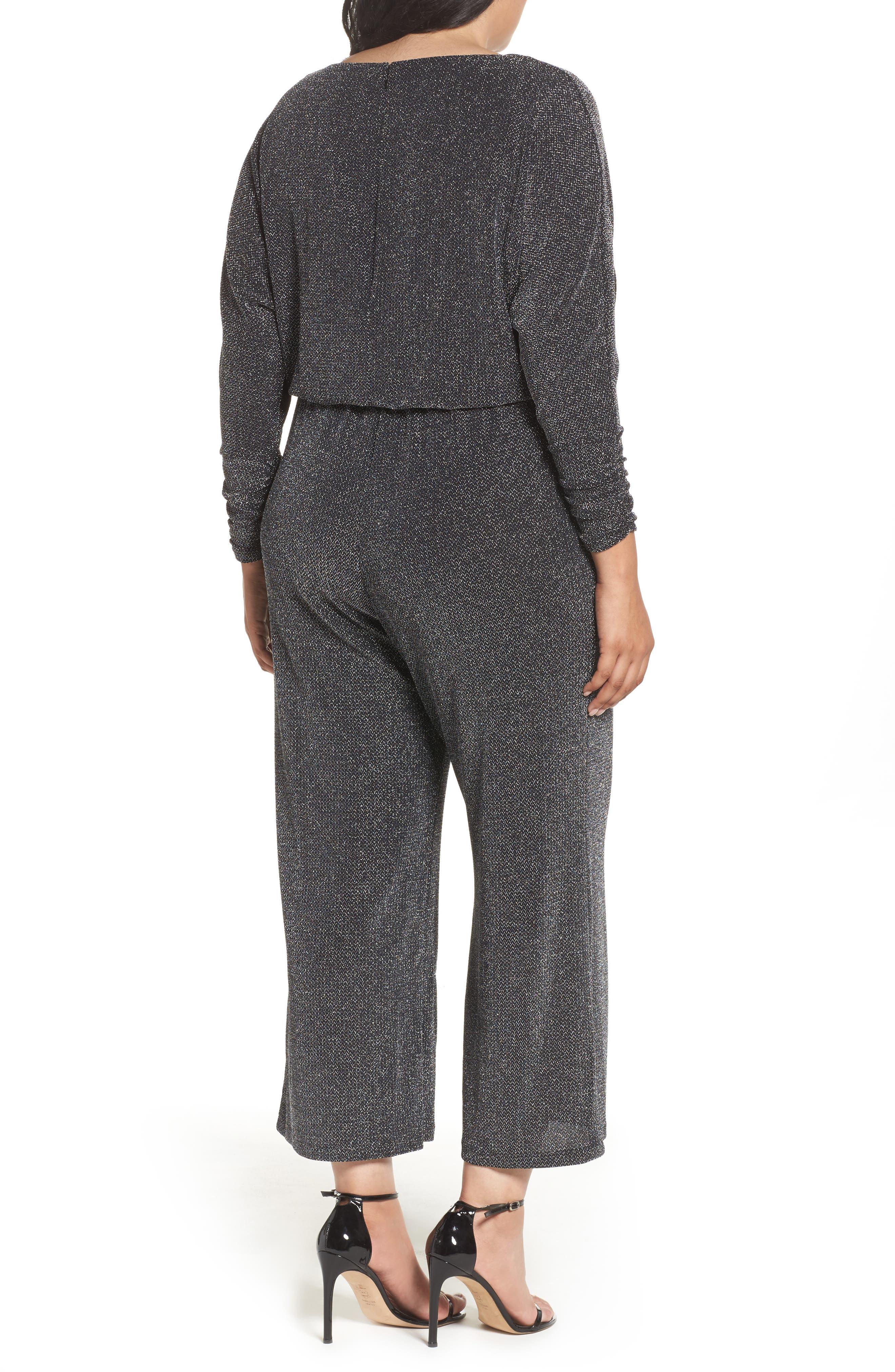 Metallic Knit Jumpsuit,                             Alternate thumbnail 2, color,                             Black/ Silver