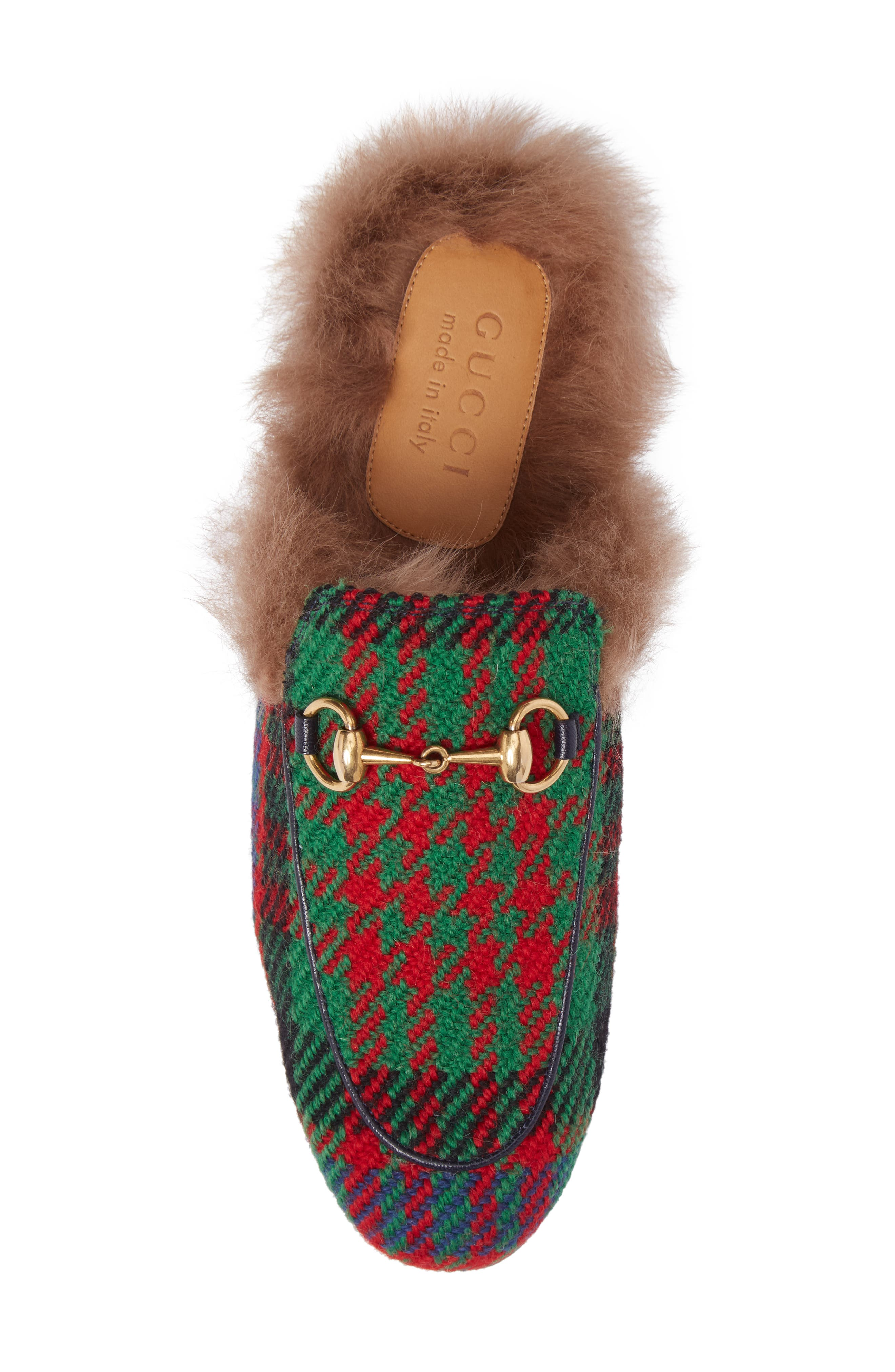 Princetown Genuine Shearling Plaid Loafer Mule,                             Alternate thumbnail 5, color,                             Green/ Blue/ Red