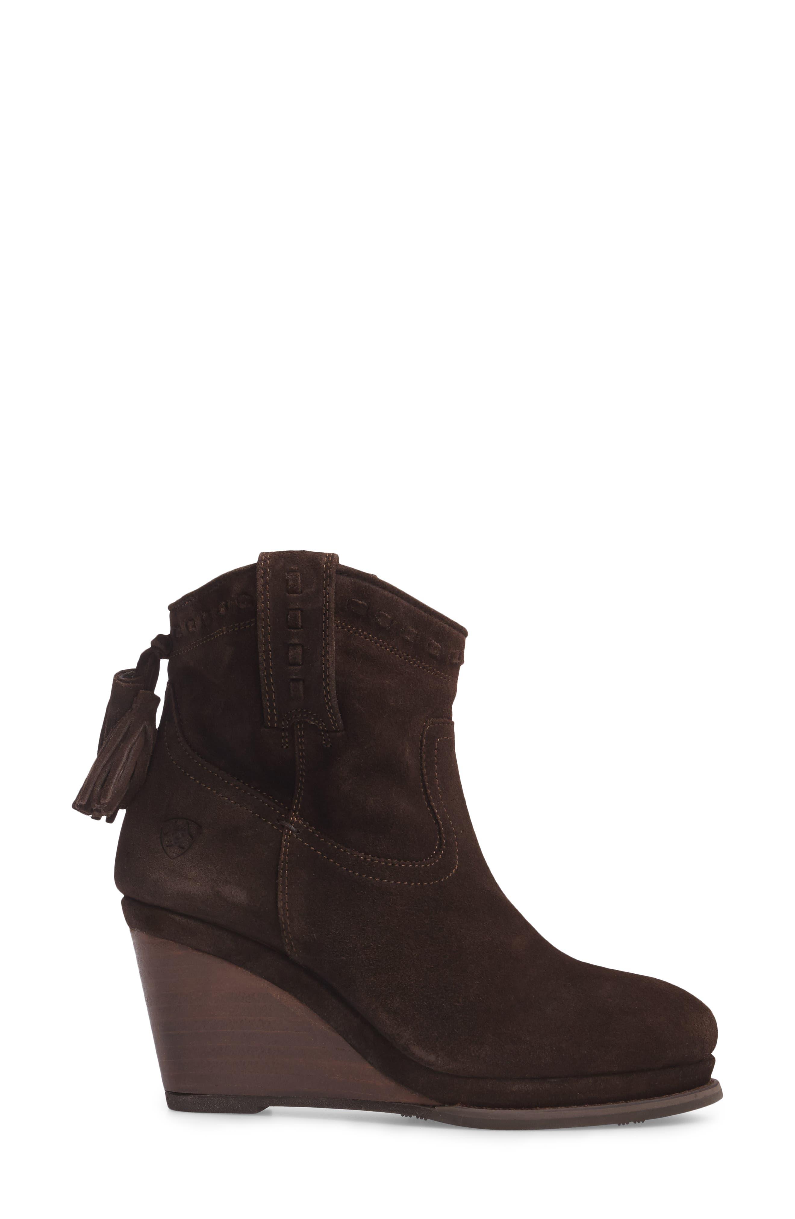 Broadway Western Wedge Boot,                             Alternate thumbnail 3, color,                             Dark Brown Suede