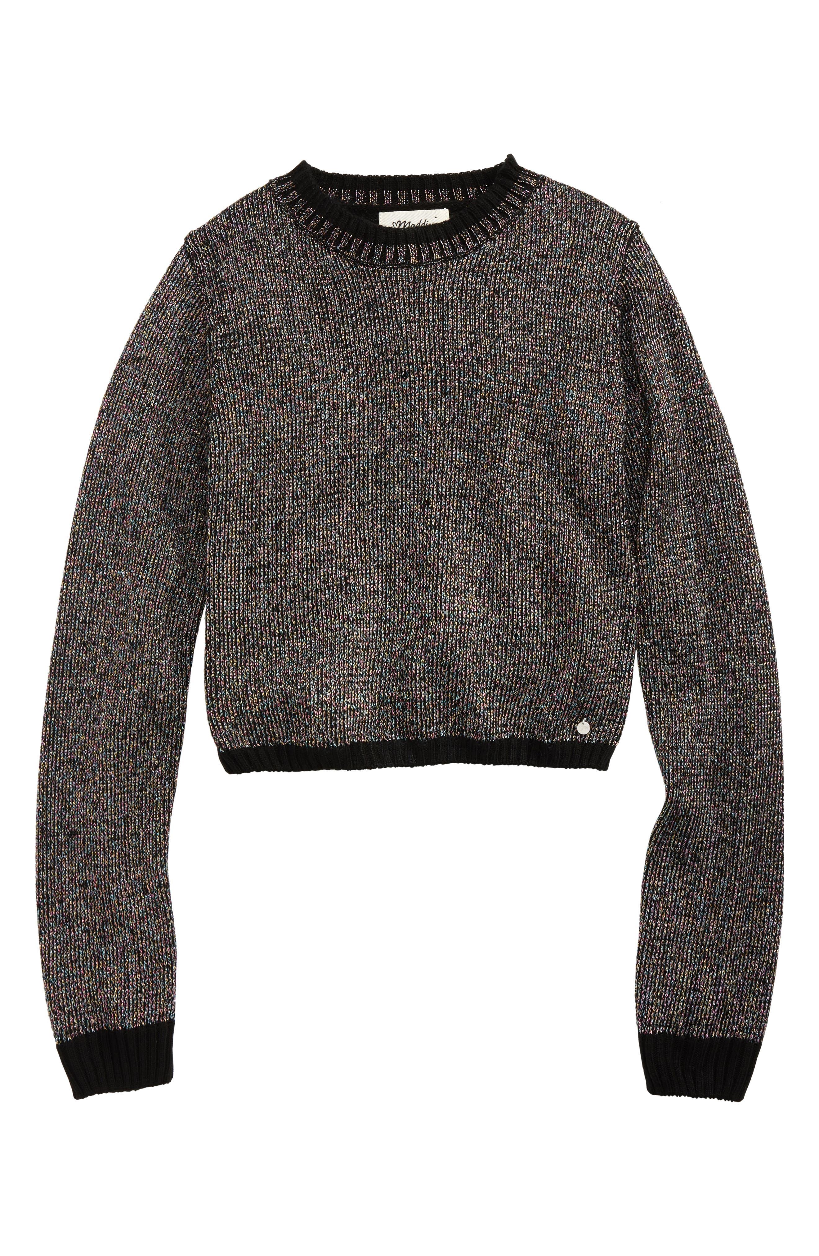 Mock Neck Metallic Sweater,                             Main thumbnail 1, color,                             Black