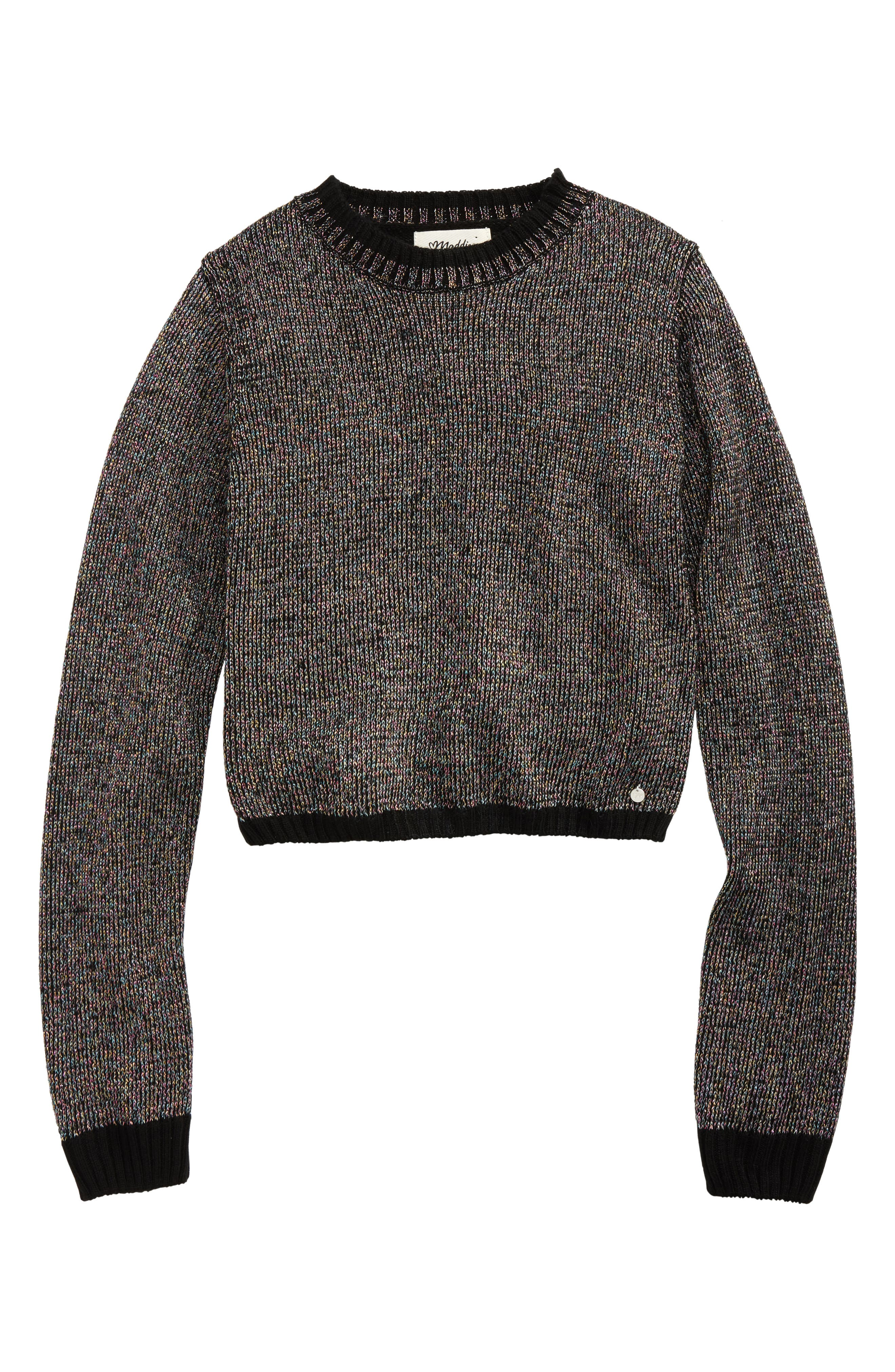 Mock Neck Metallic Sweater,                         Main,                         color, Black