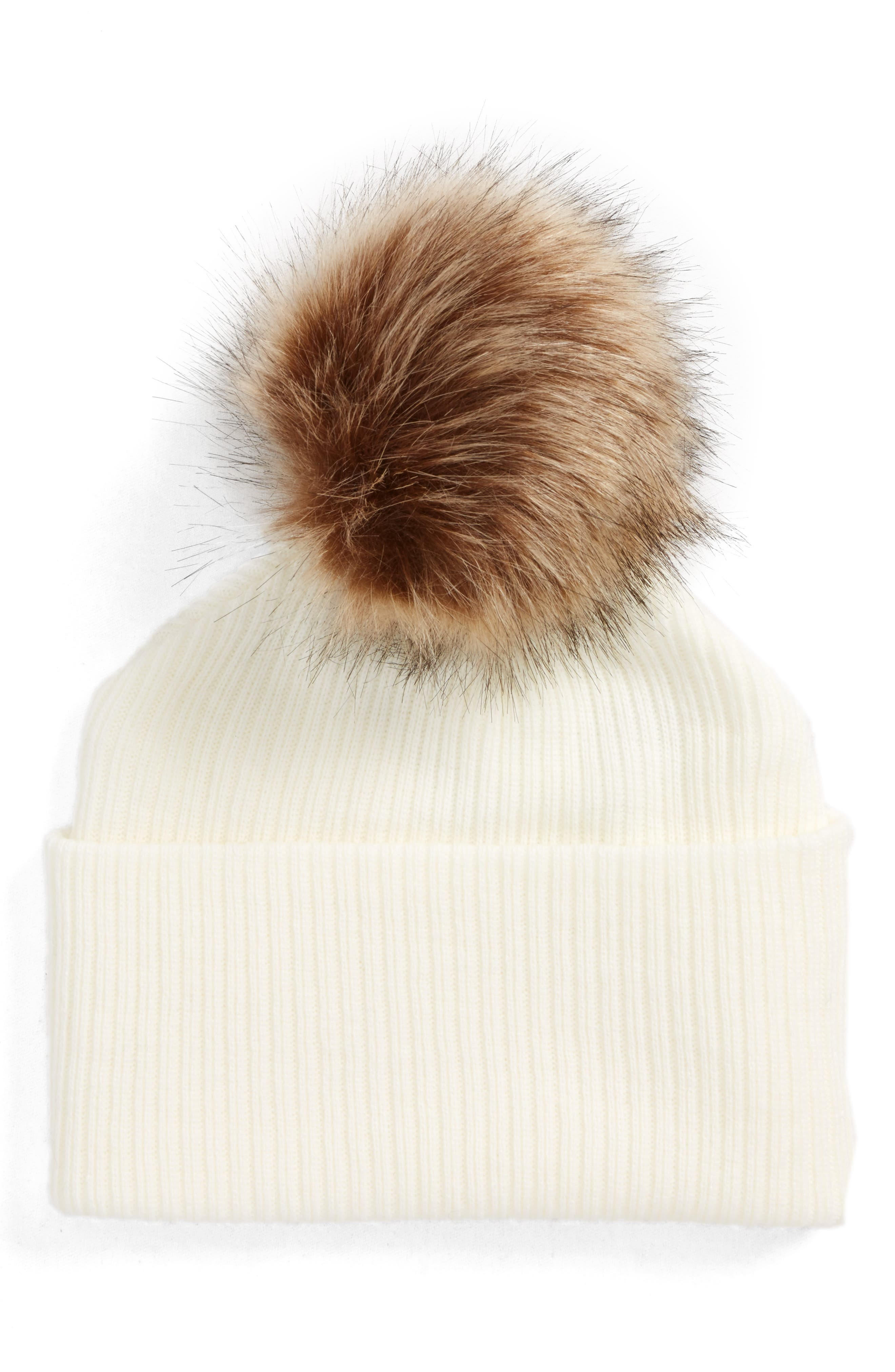Sole Society Faux Fur Pompom Beanie