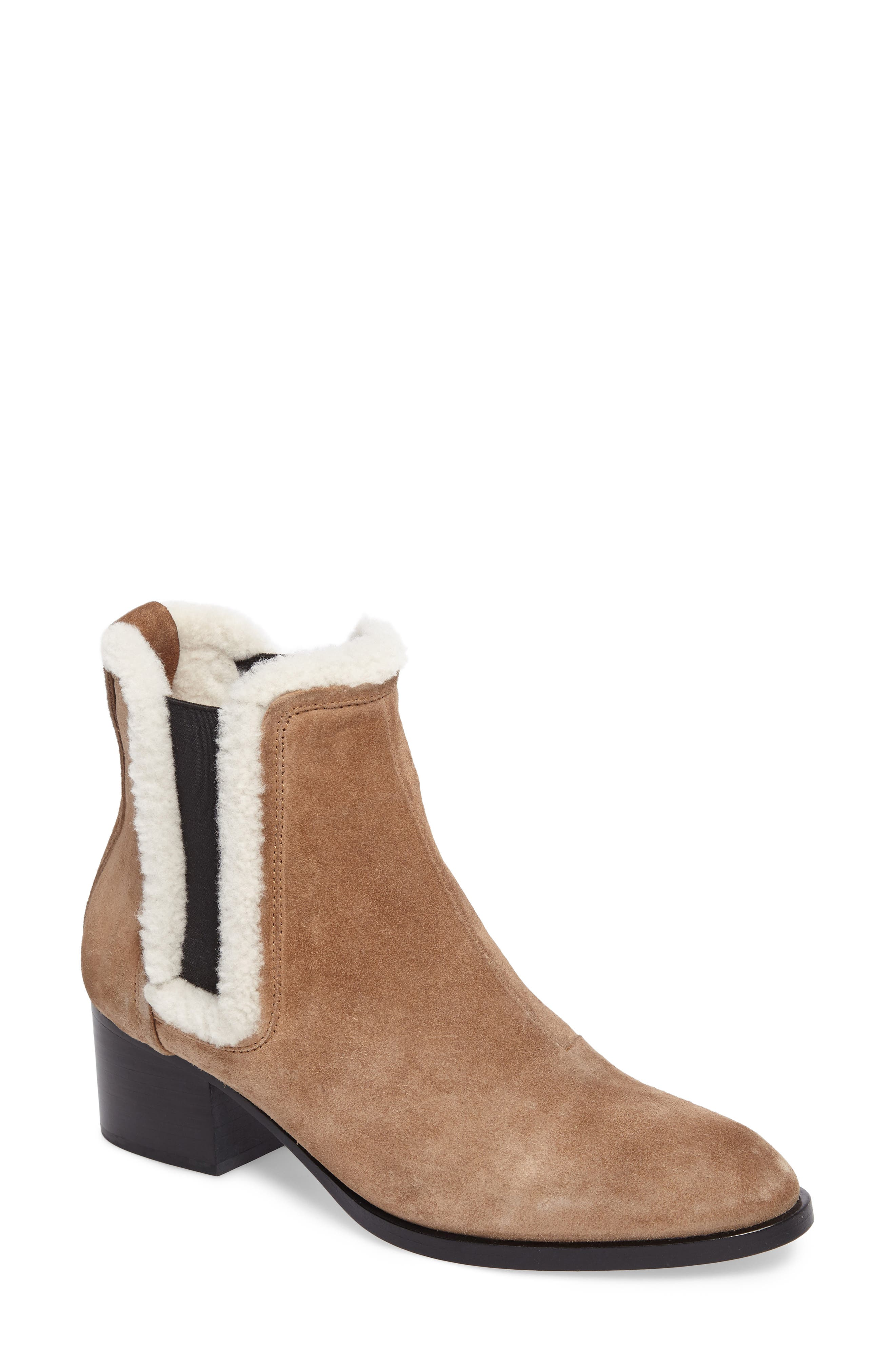 Walker Bootie with Genuine Shearling Trim,                             Main thumbnail 1, color,                             Camel